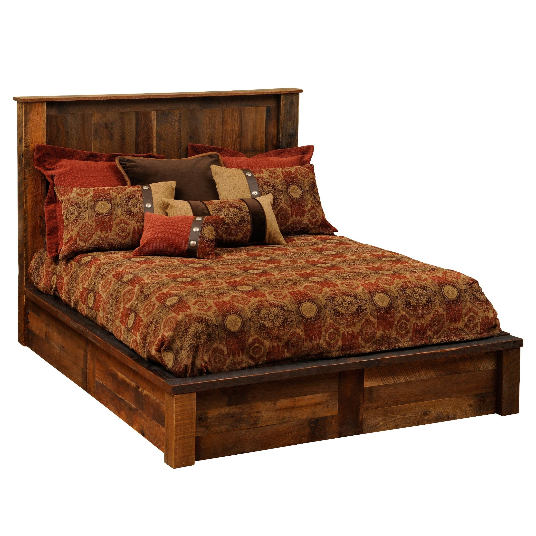 Barnwood King Platform Bed from Fireside Lodge (B10010-PF) | Coleman ...