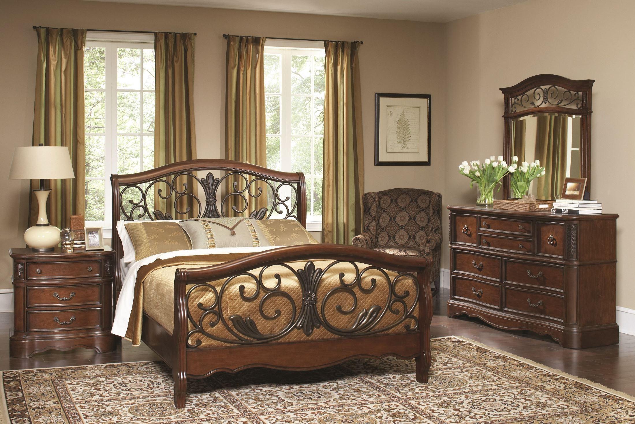 Belle Meade Courtyard Cherry Panel Bedroom Set B1095 52h 52f 5262r Largo Furniture