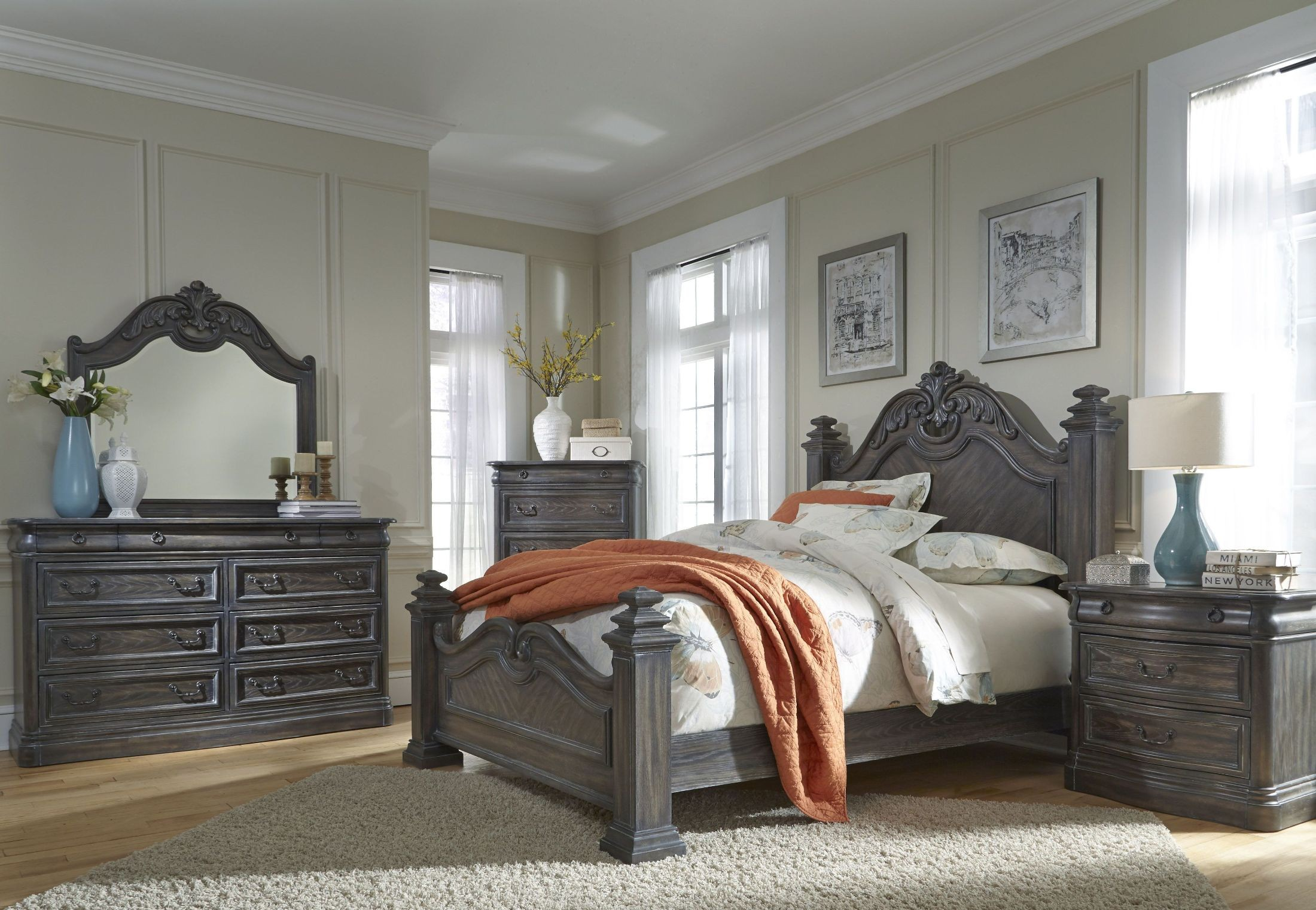 Terracina distressed smokey oak panel bedroom set b121 36 - Distressed bedroom furniture sets ...