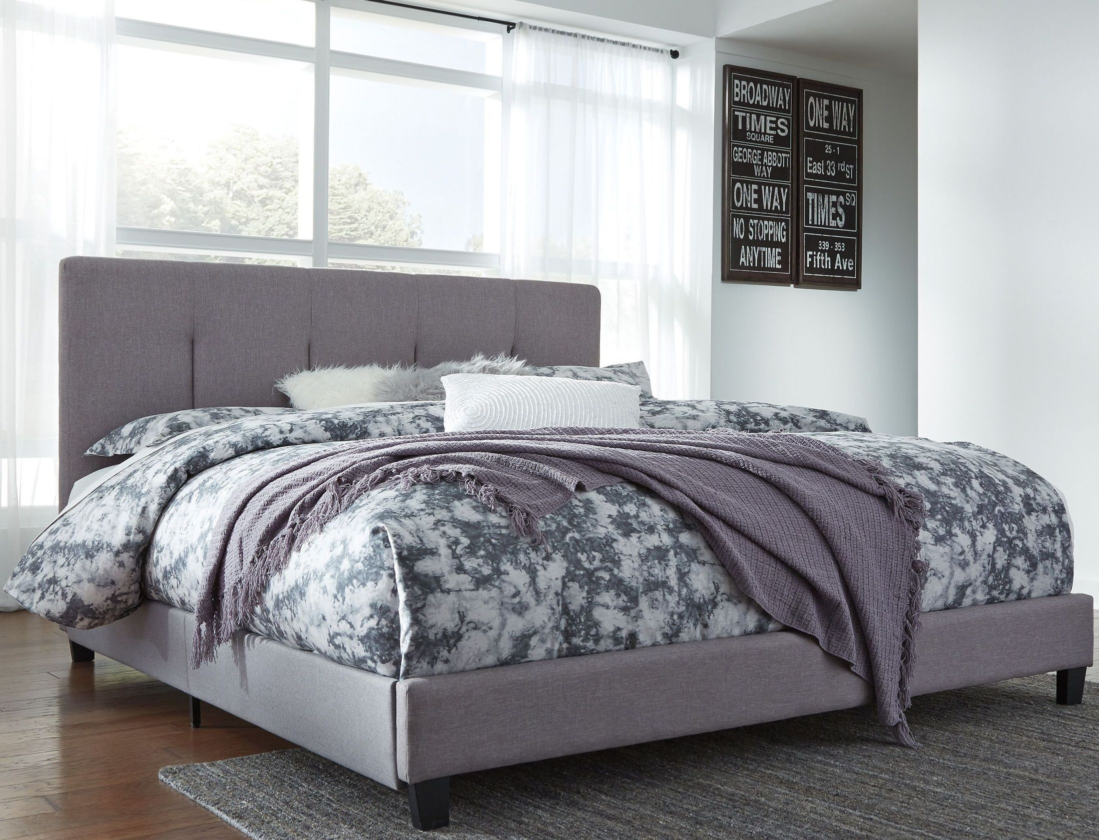 contemporary gray king upholstered panel bed b130 782 ashley. Black Bedroom Furniture Sets. Home Design Ideas