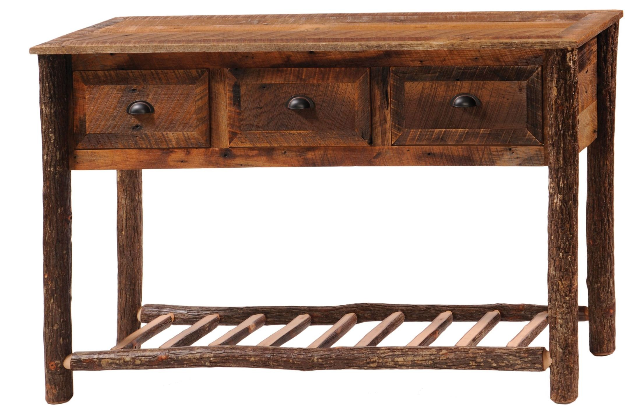 3 drawers console table with hickory legs shelf from for Sofa table with drawers and doors