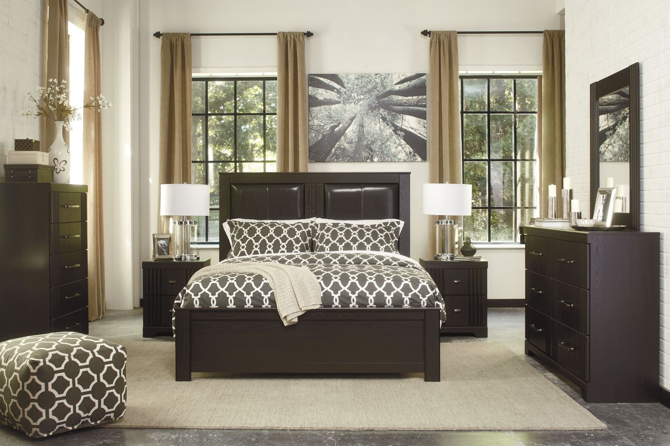 bedroom furniture bedroom sets tadlyn dark brown panel bedroom set