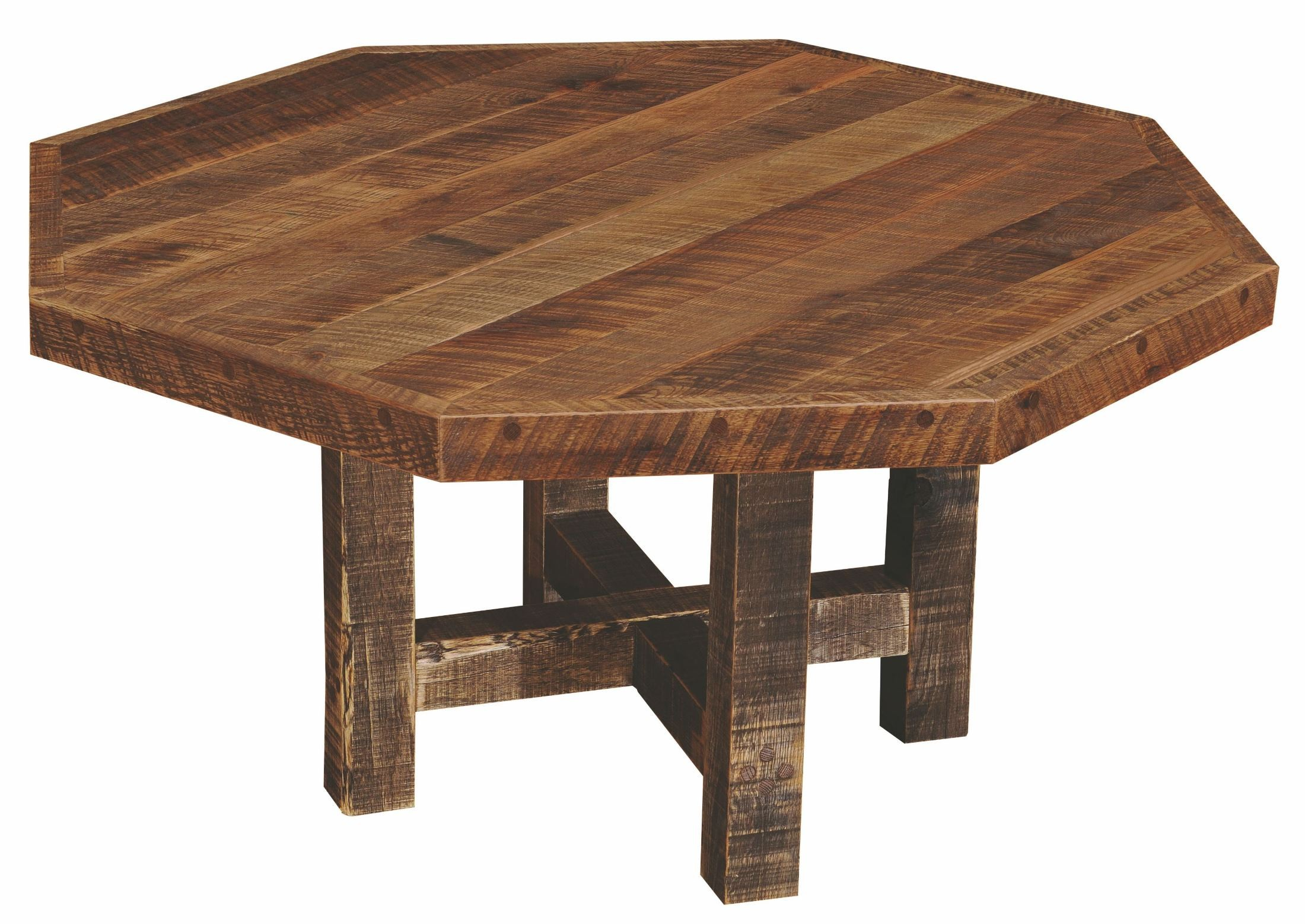 Barnwood Octagon 54quot Traditional Oak Top Dining Table from  : b15030 atbarnwoodoctogondiningtable from colemanfurniture.com size 2200 x 1559 jpeg 527kB