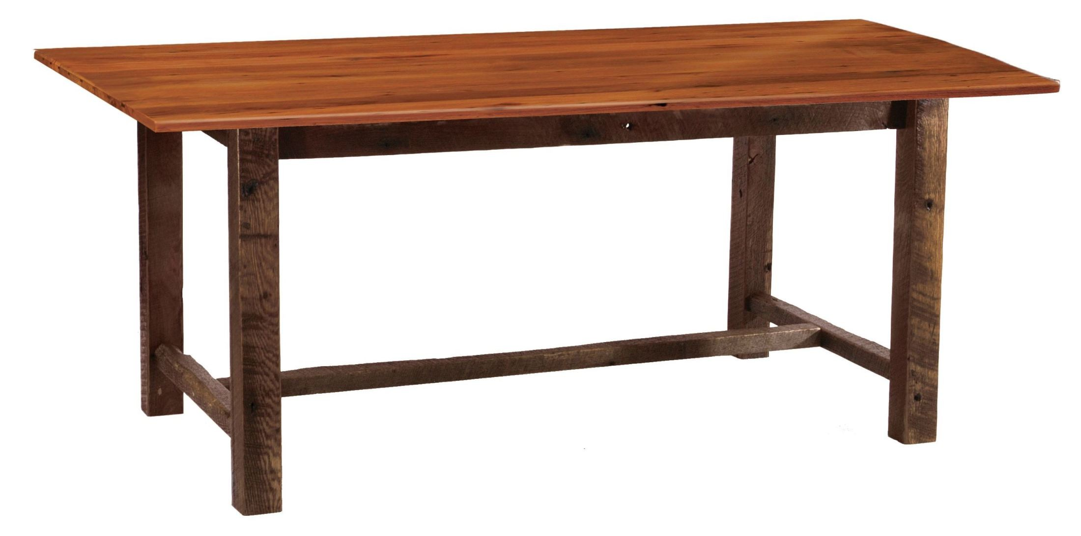 "Barnwood Farmhouse 96"" Antique Oak Top Rectangular Dining Table from Fir"