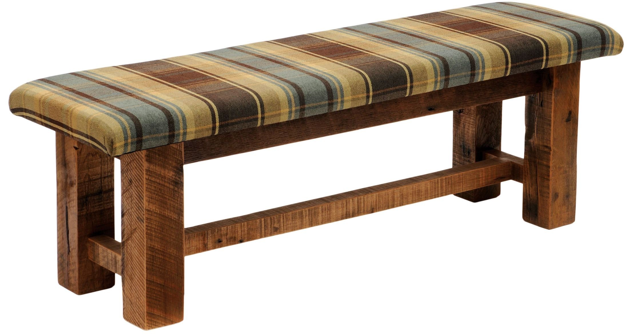 Barnwood Upholstered Seat 60 Upgrade Fabric Bench From Fireside Lodge . Full resolution  photo, nominally Width 2200 Height 1175 pixels, photo with #6E4126.