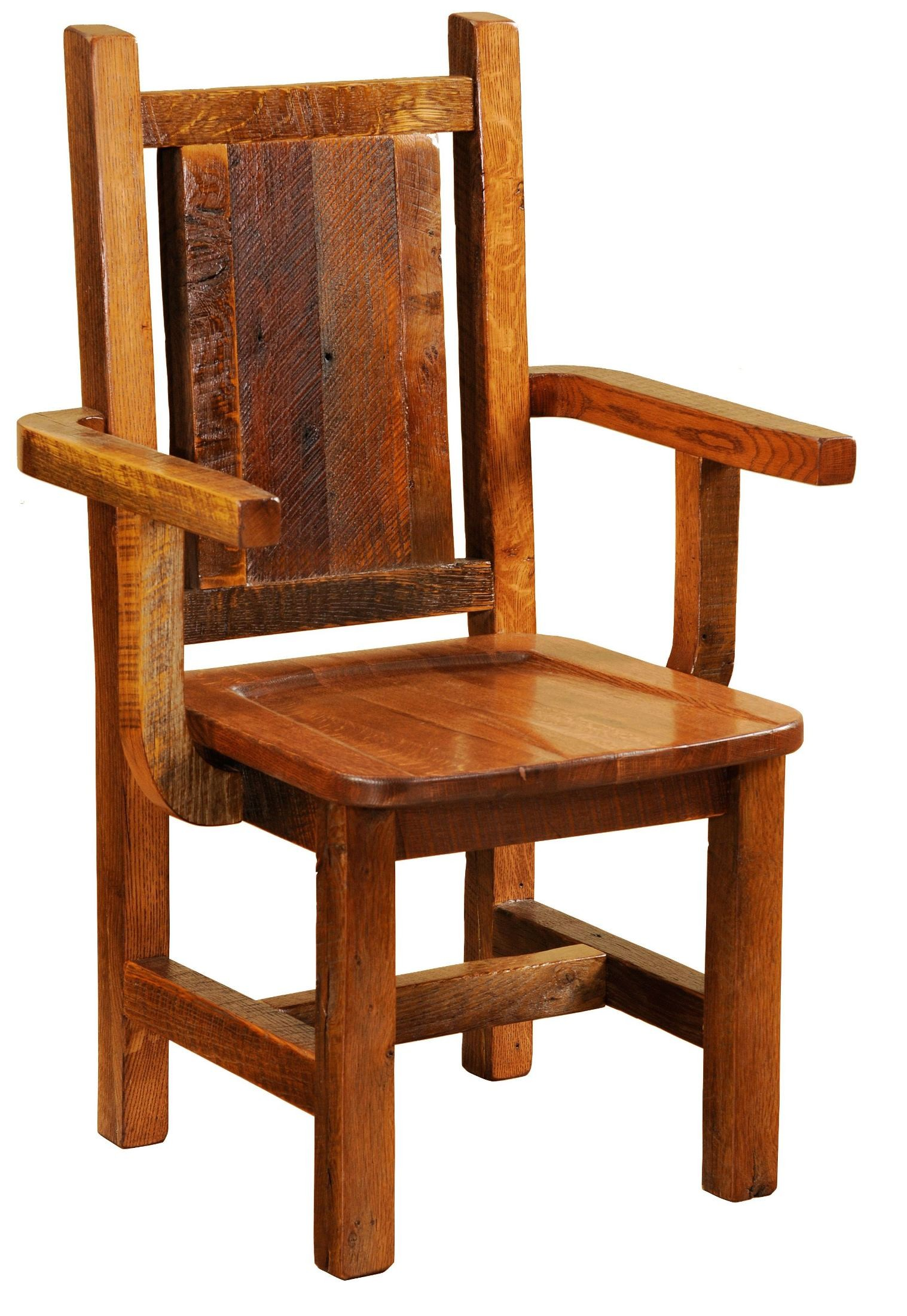 Barnwood Contoured Wood Seat Artisan Dining Arm Chair from ...