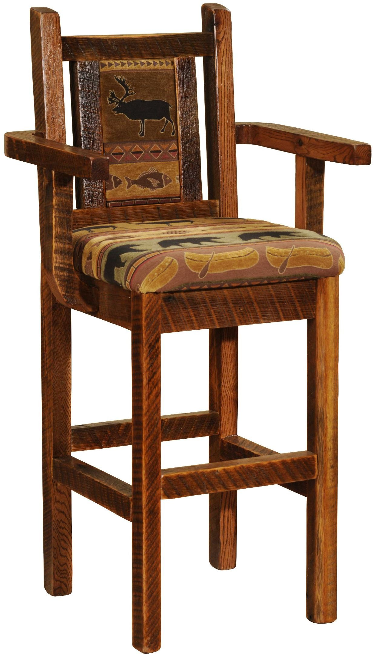 Barnwood artisan 30 arm upholstered bar stool from fireside lodge b16421 coleman furniture Artisan home furniture bar stools