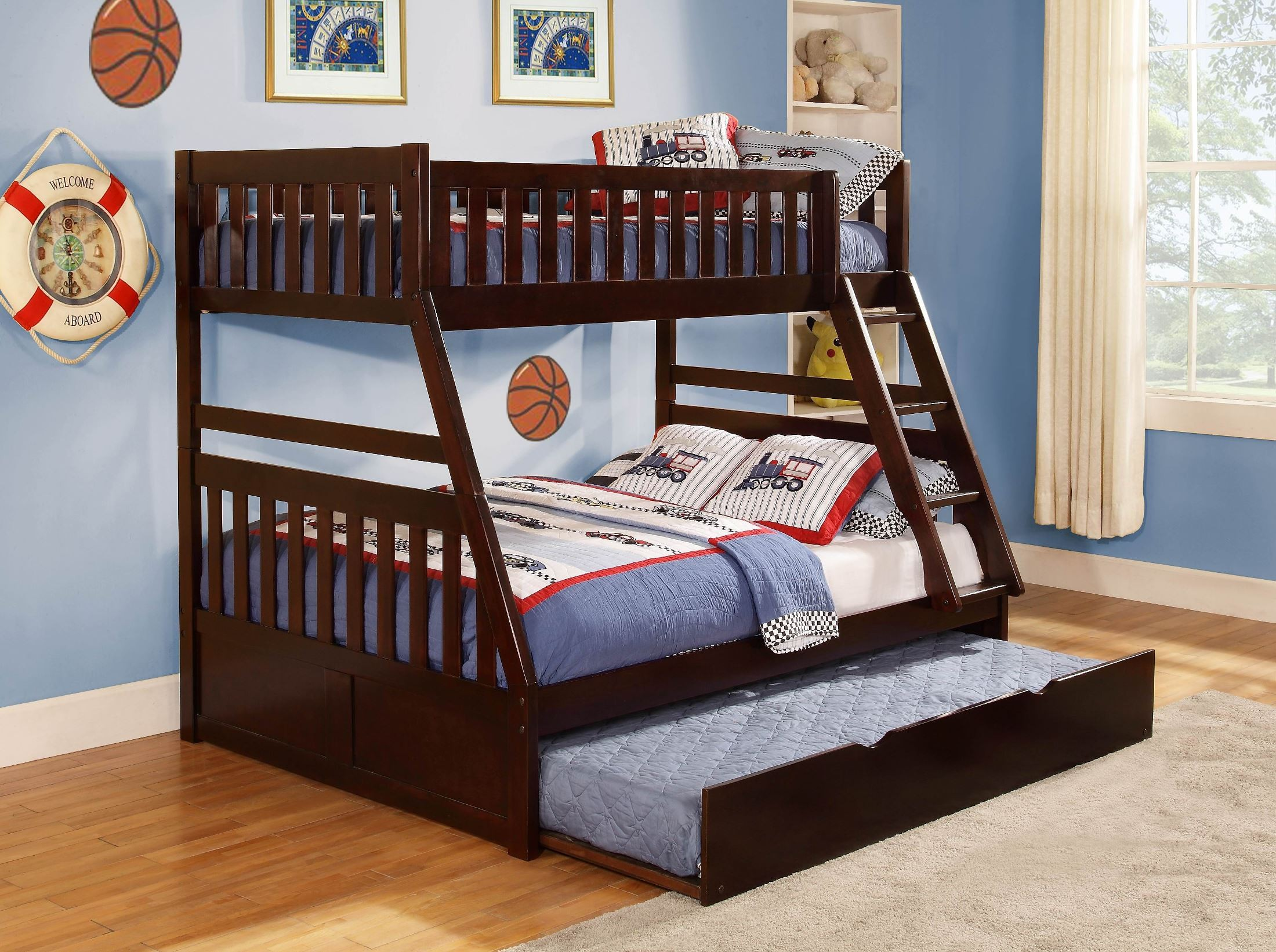 rowe twin over full bunk bed from homelegance b2013tfdc 1 coleman furniture. Black Bedroom Furniture Sets. Home Design Ideas