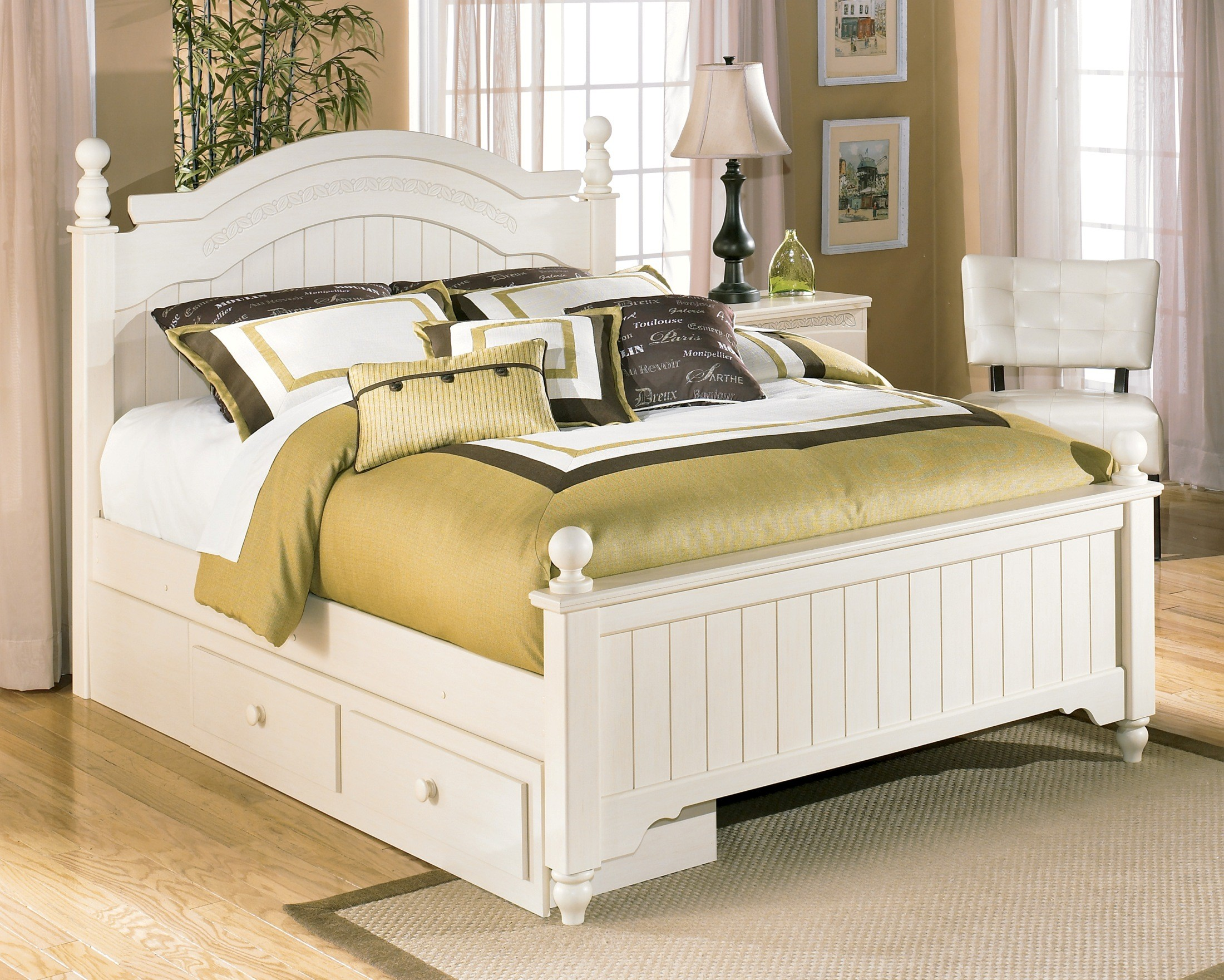 Cottage retreat queen poster storage bed from ashley b213 for Cottage style furniture