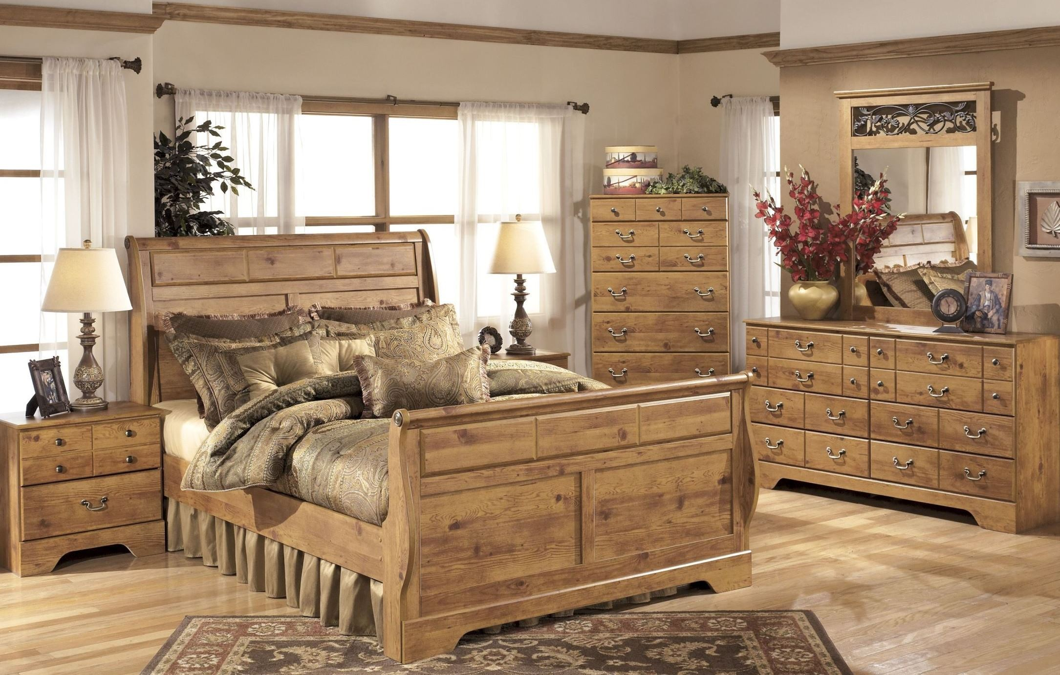bittersweet sleigh bedroom set from ashley b219 65 63 86 coleman