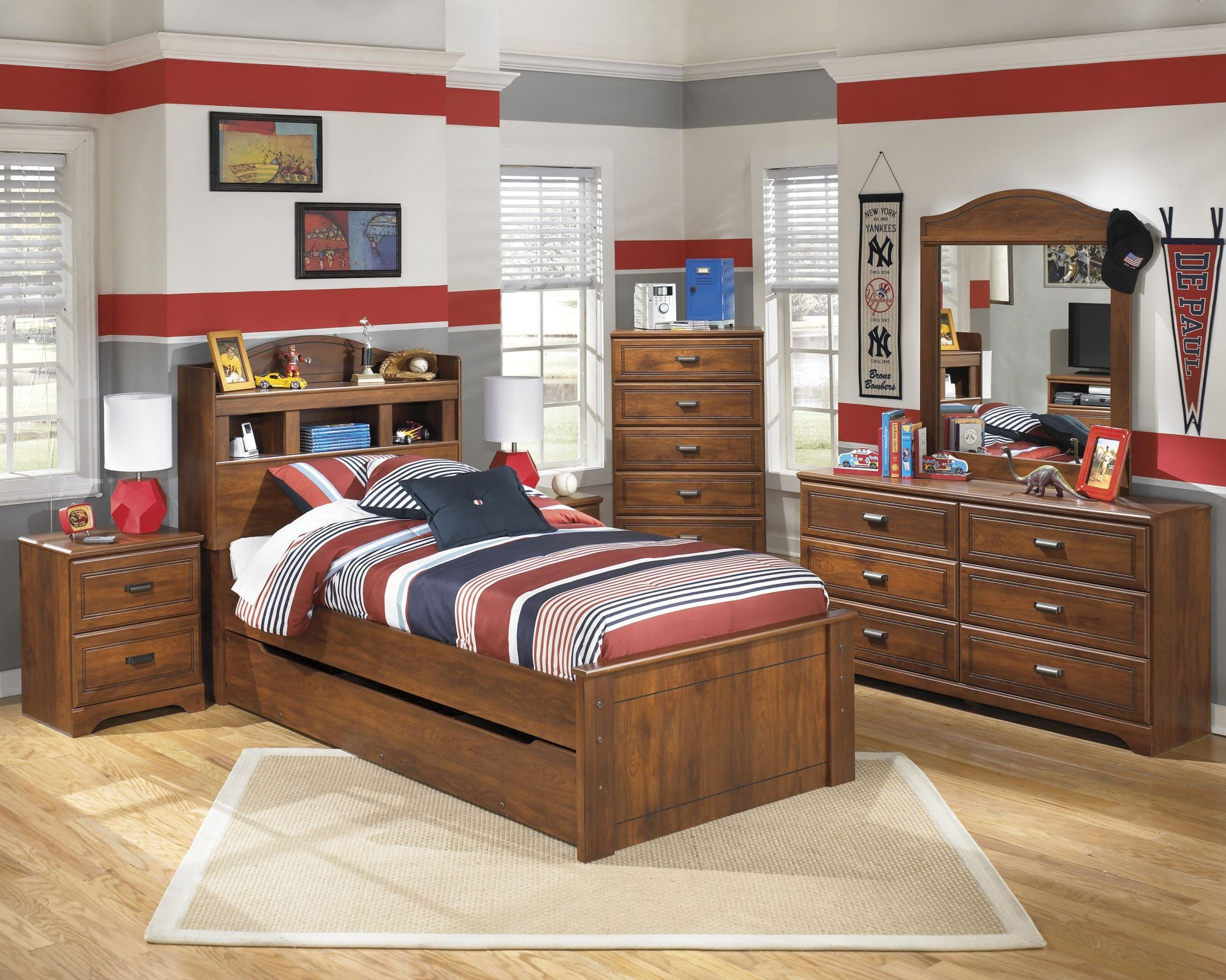 Barchan youth trundle bookcase bedroom set b228 63 52 82 60 b100 11 ashley for Youth storage bedroom furniture
