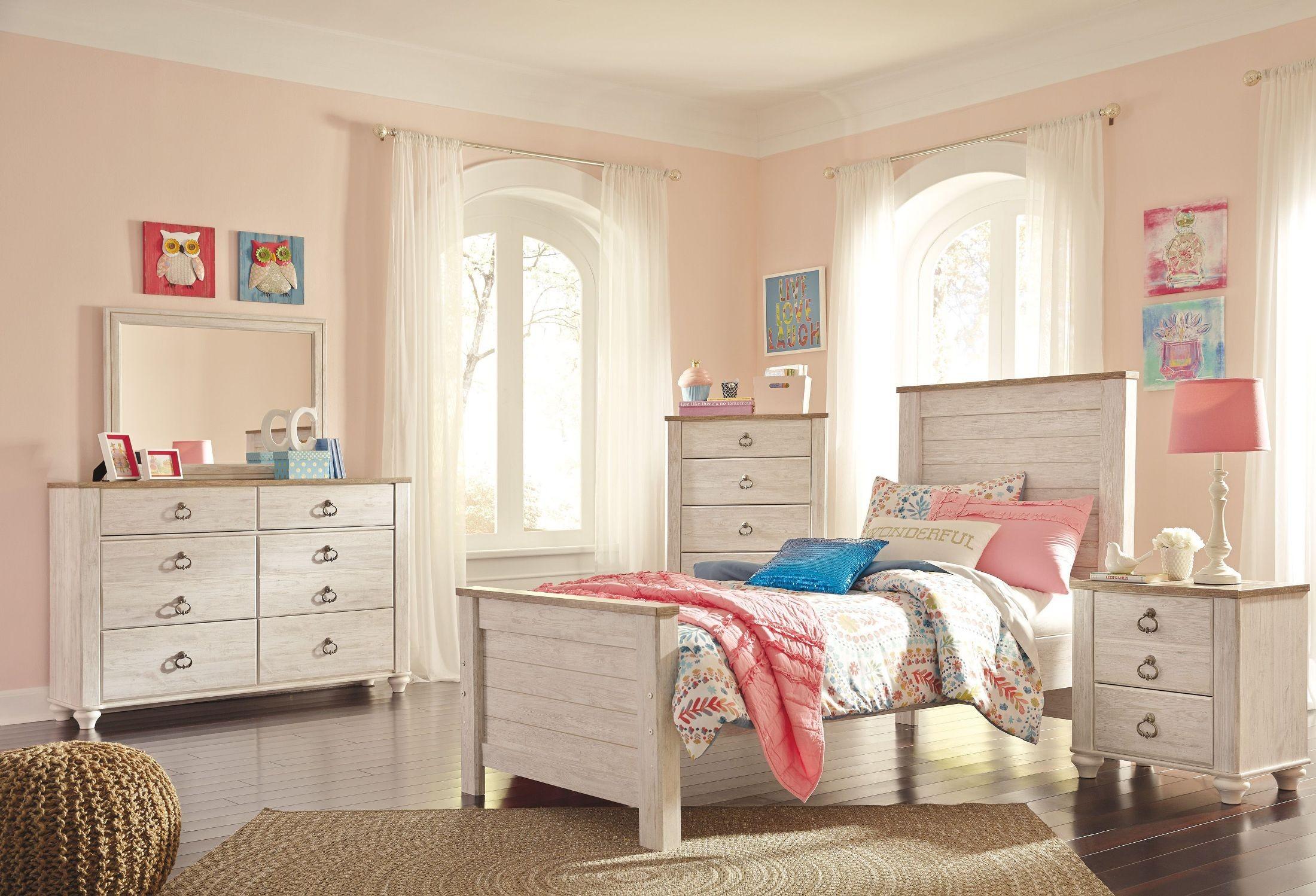 willowton whitewash panel bedroom set b267 53 52 83 ashley