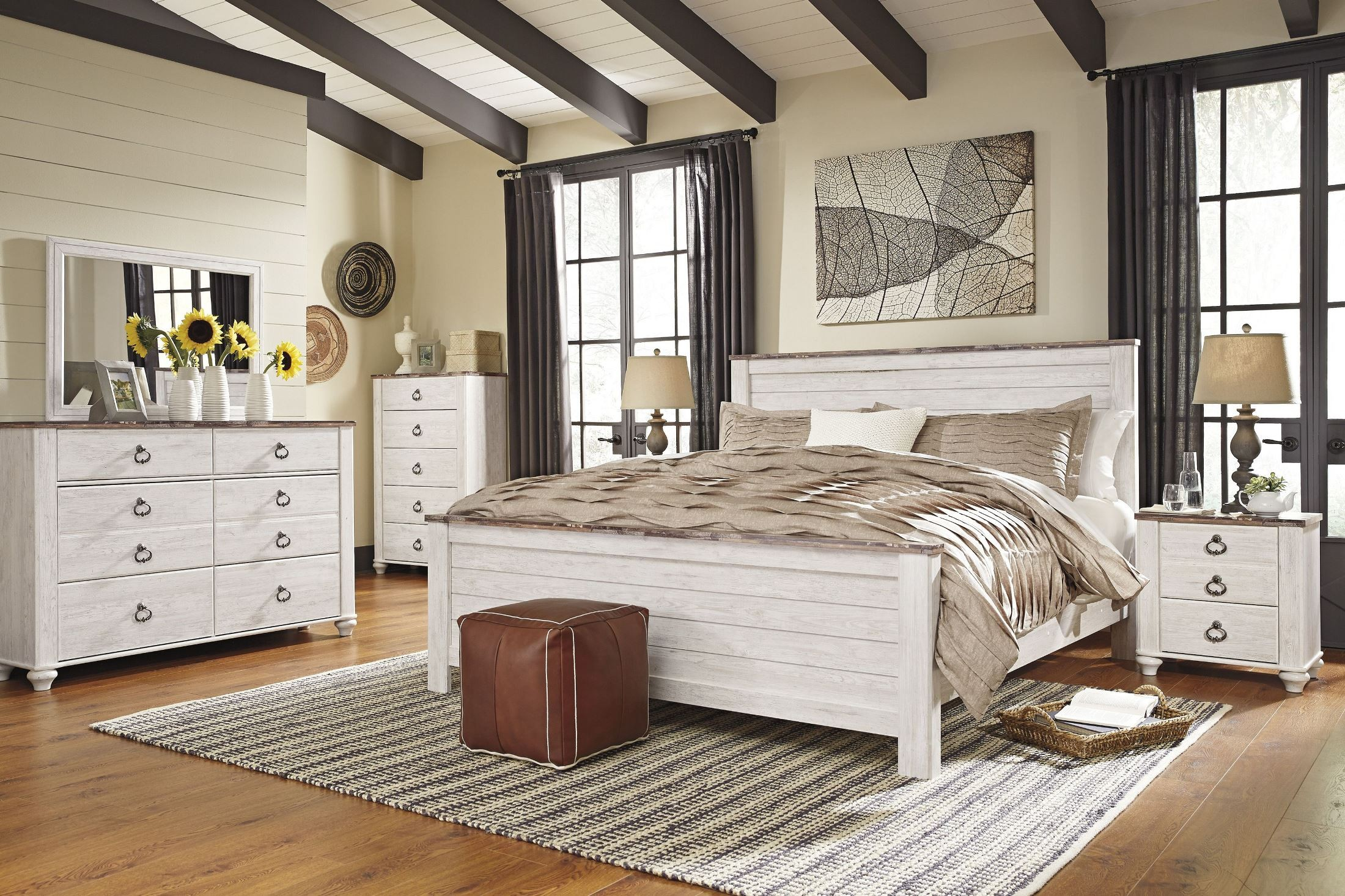 Willowton Whitewash Panel Bedroom Set B267 54 57 98 Ashley
