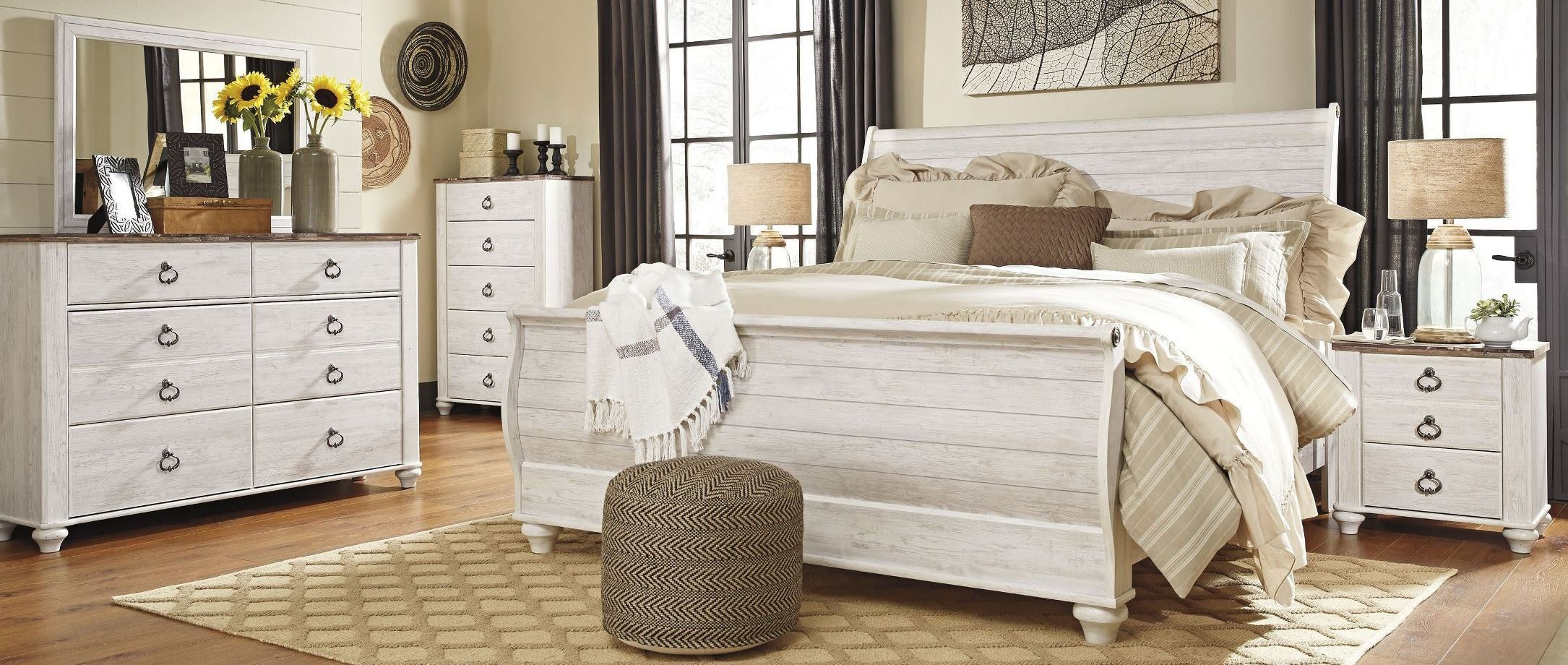 willowton whitewash sleigh bedroom set b267 74 77 96 ashley willowton whitewash sleigh bedroom set bedroom sets