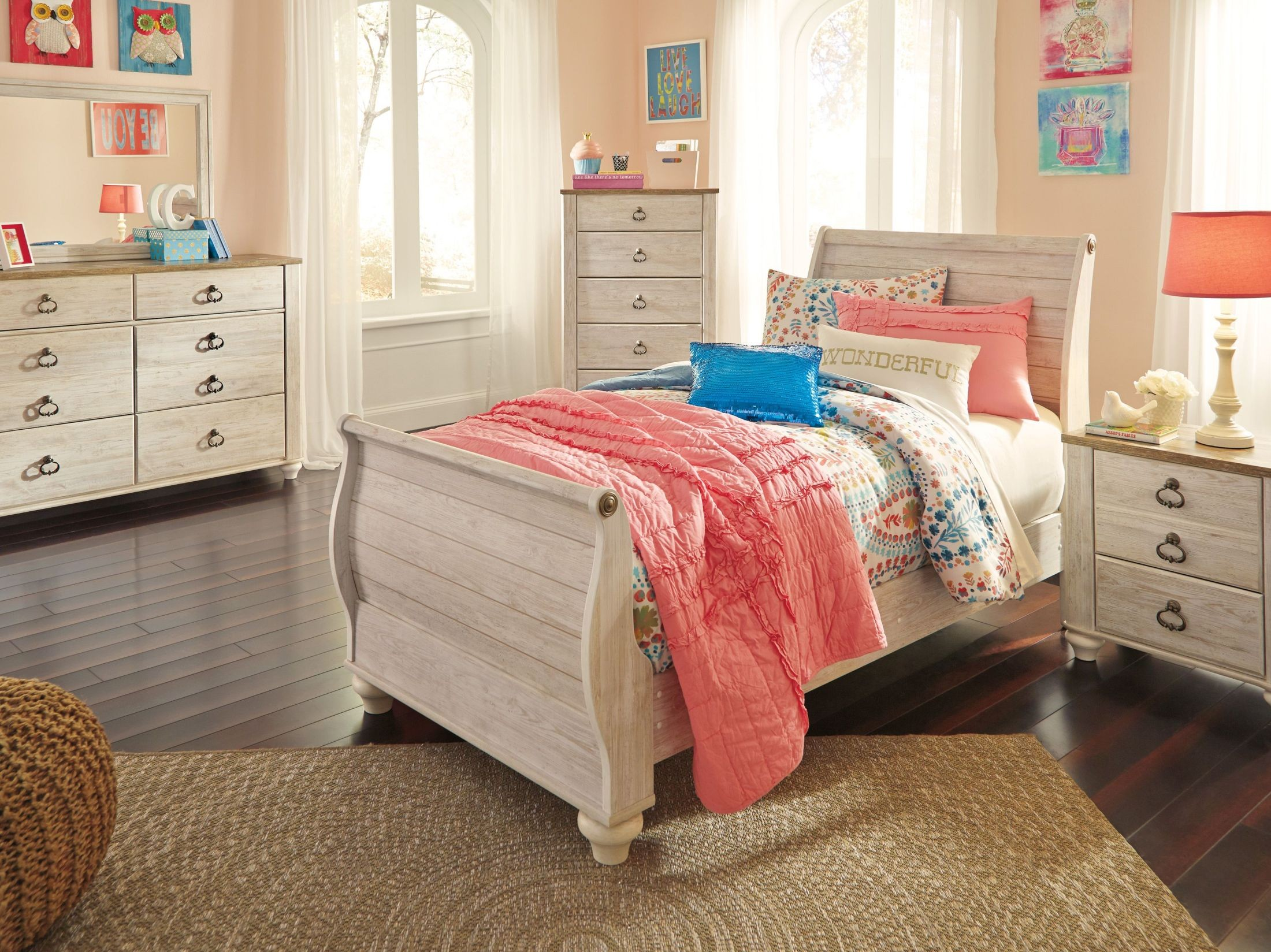 willowton whitewash sleigh bedroom set b267 63 52 82 ashley furniture deals millington tn willowton whitewash queen