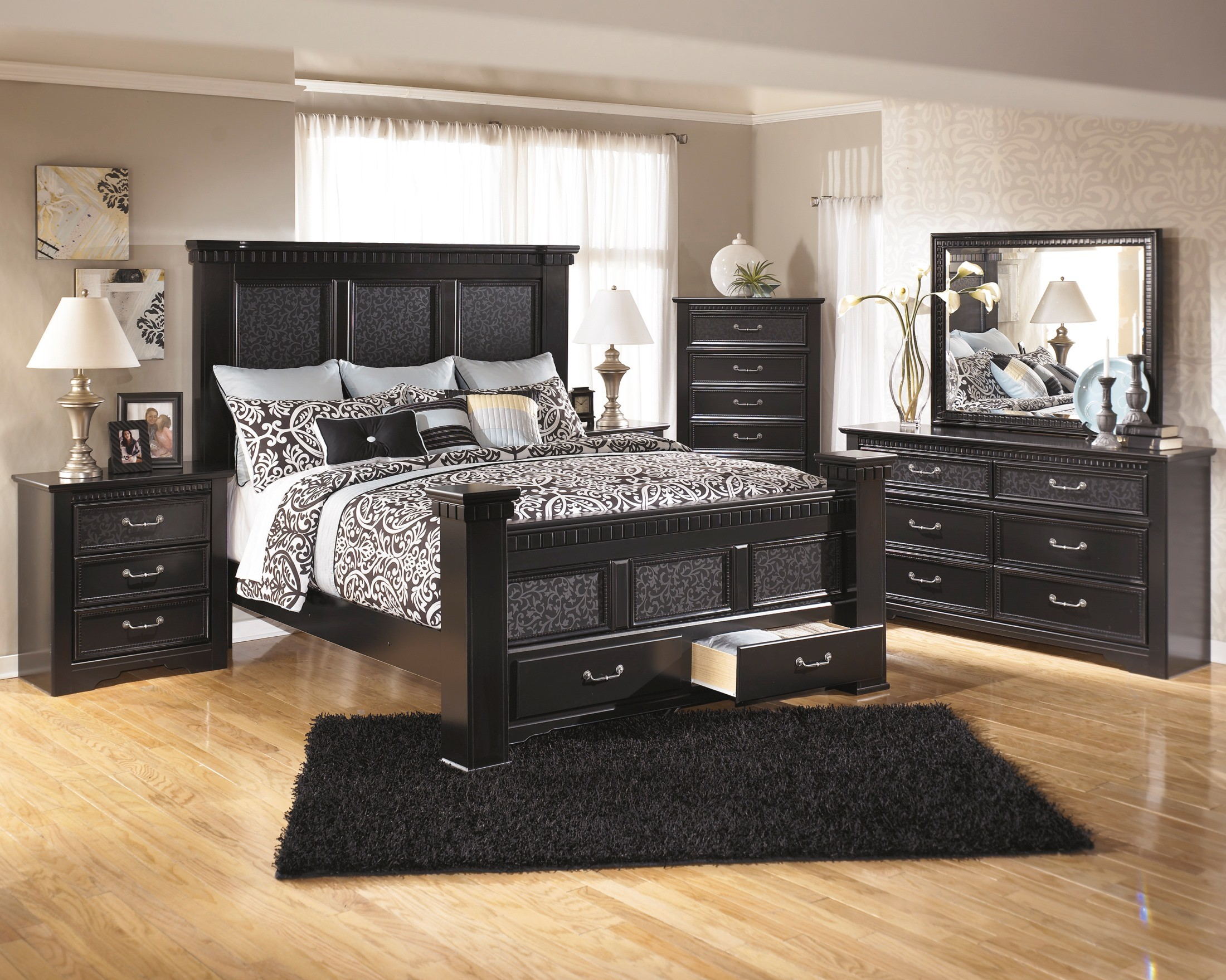Cavallino Cal King Storage Mansion Bed from Ashley B291 158 166S