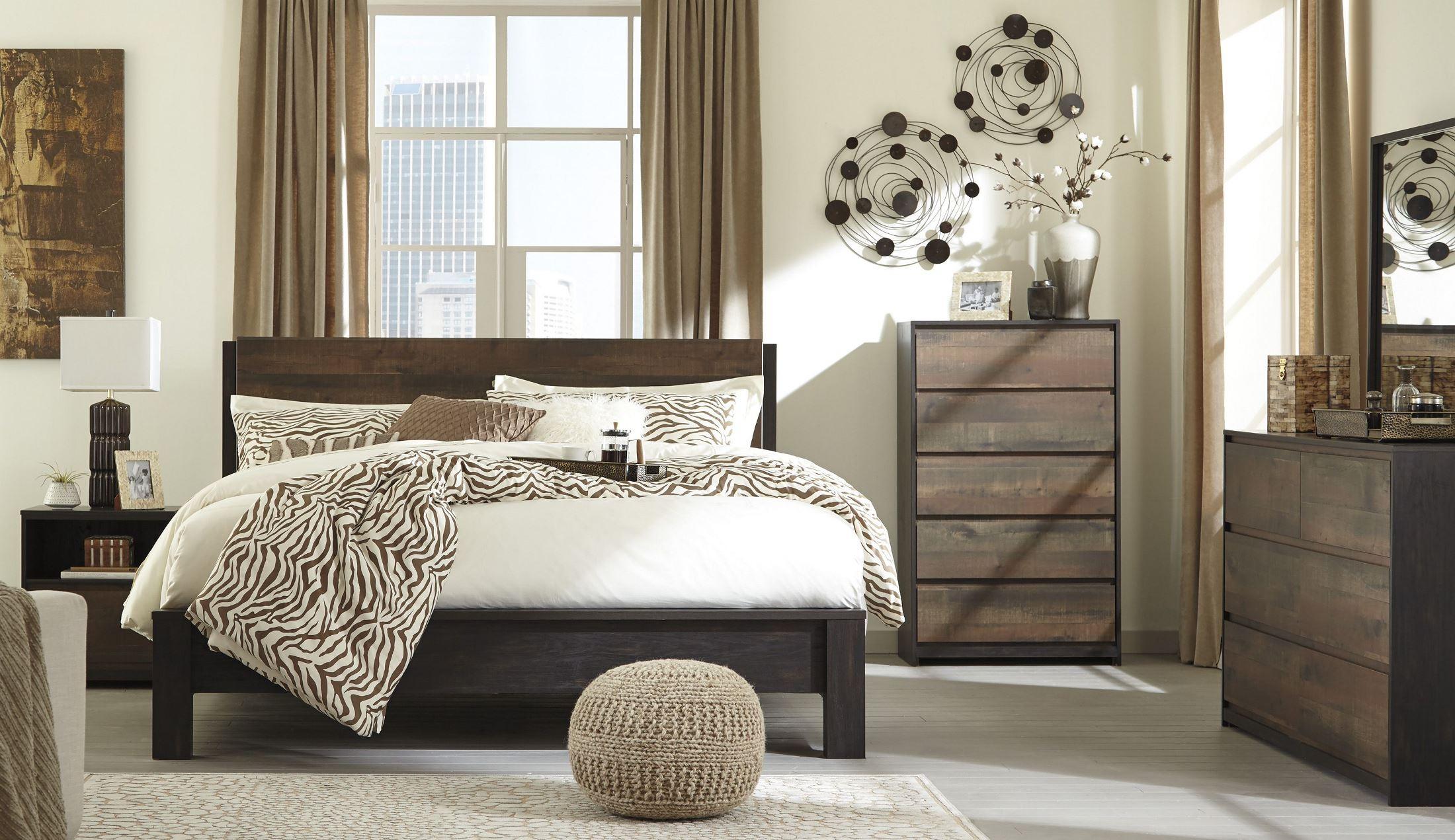 Windlore dark brown panel bedroom set b320 57 54 96 ashley for Dark brown bedroom furniture sets