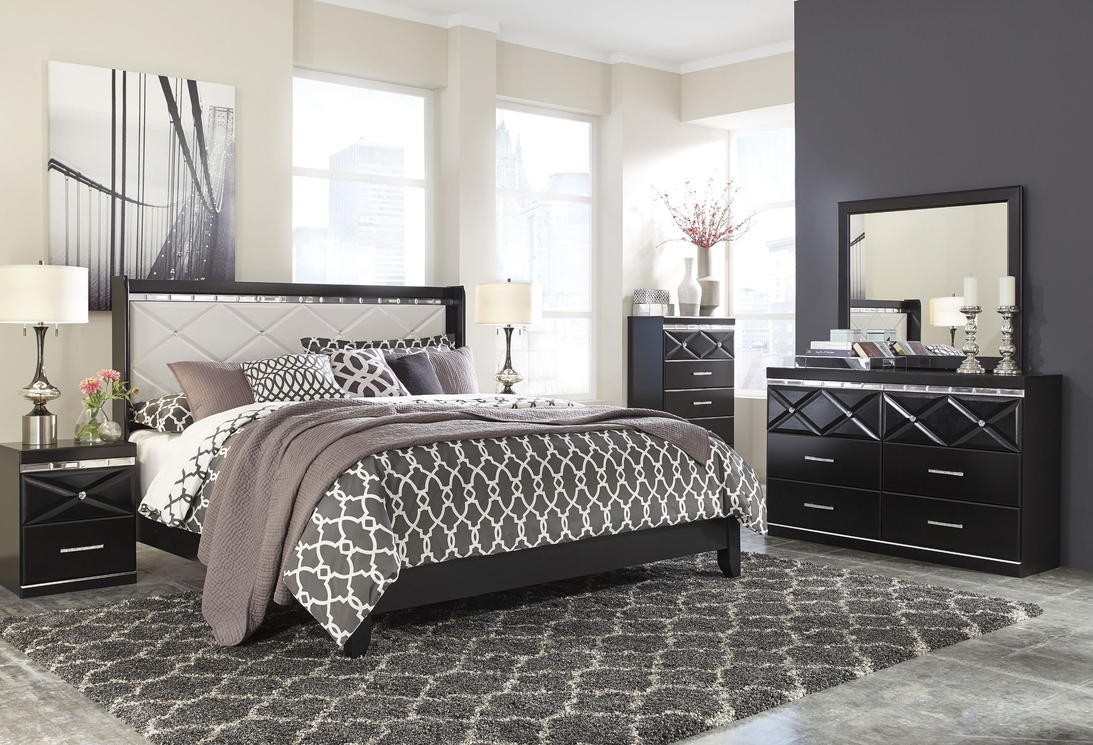 Fancee white panel bedroom set from ashley b348 57 54 for Bed 3