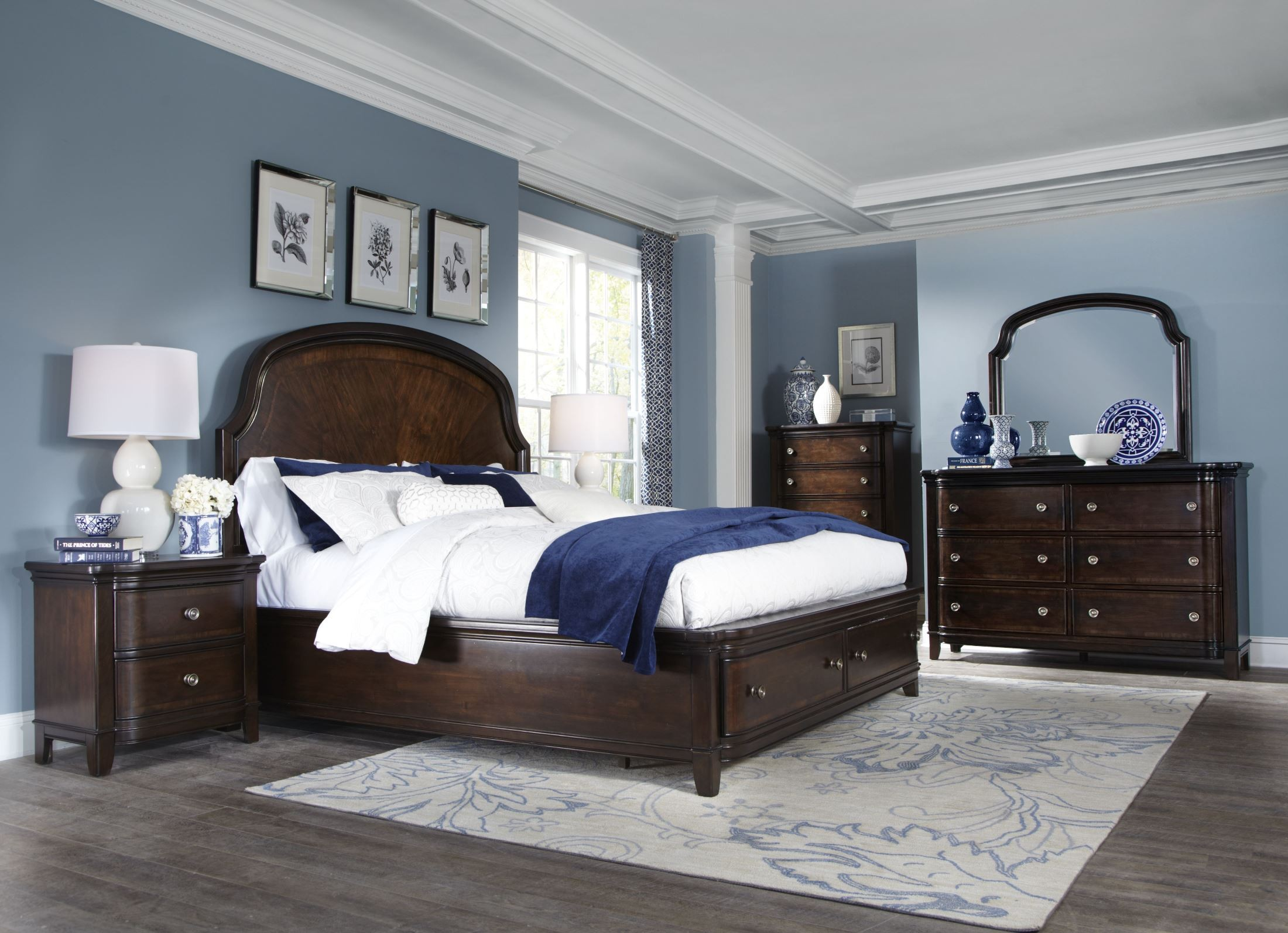 Langham place warm chestnut wood storage panel bedroom set for Places to get bedroom sets