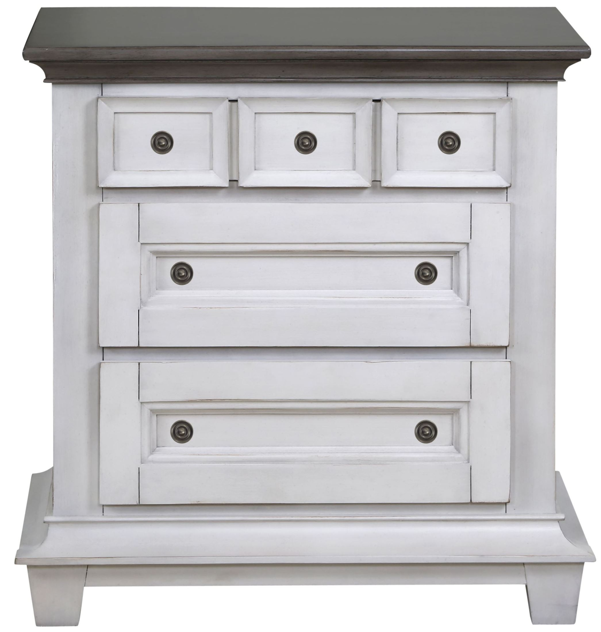 Hampton bay weathered white and antique grey wood drawer for White wood nightstand