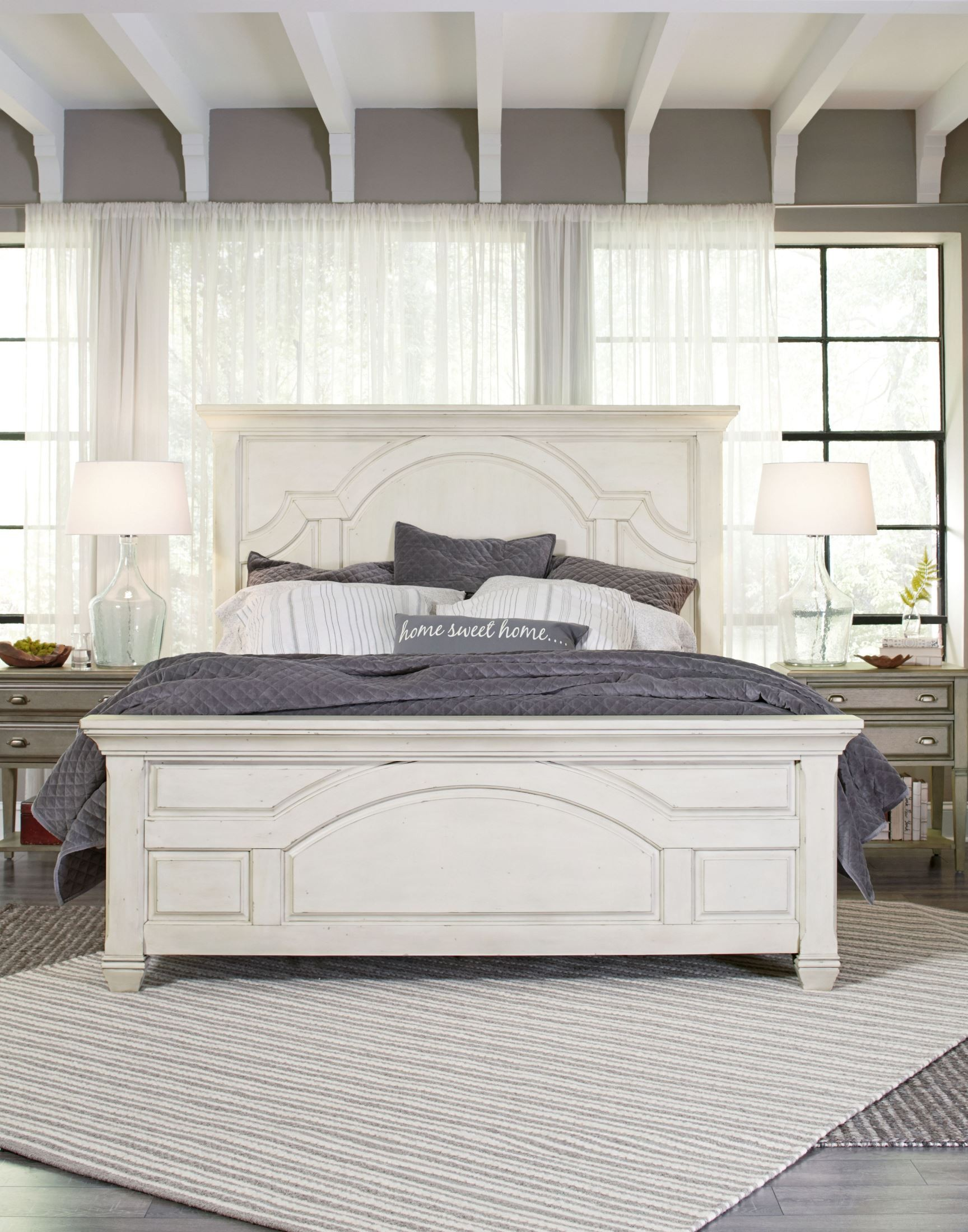 Hancock Park Vintage White Panel Bedroom Set B3681 54h 54f 54r Magnussen Home
