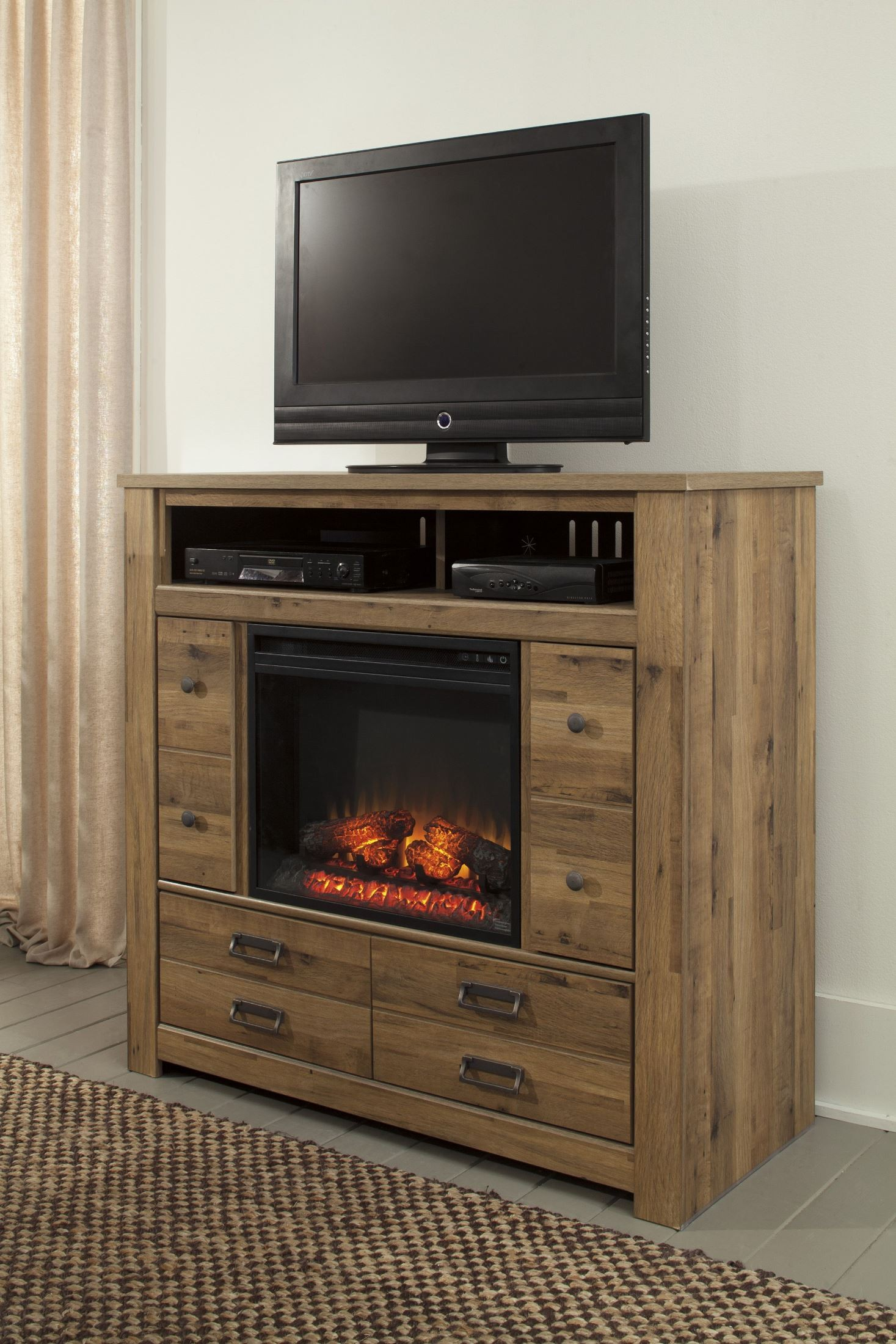 Cinrey Media Chest With Glass Stone Fireplace Insert From Ashley B369 49 W100 02 Coleman