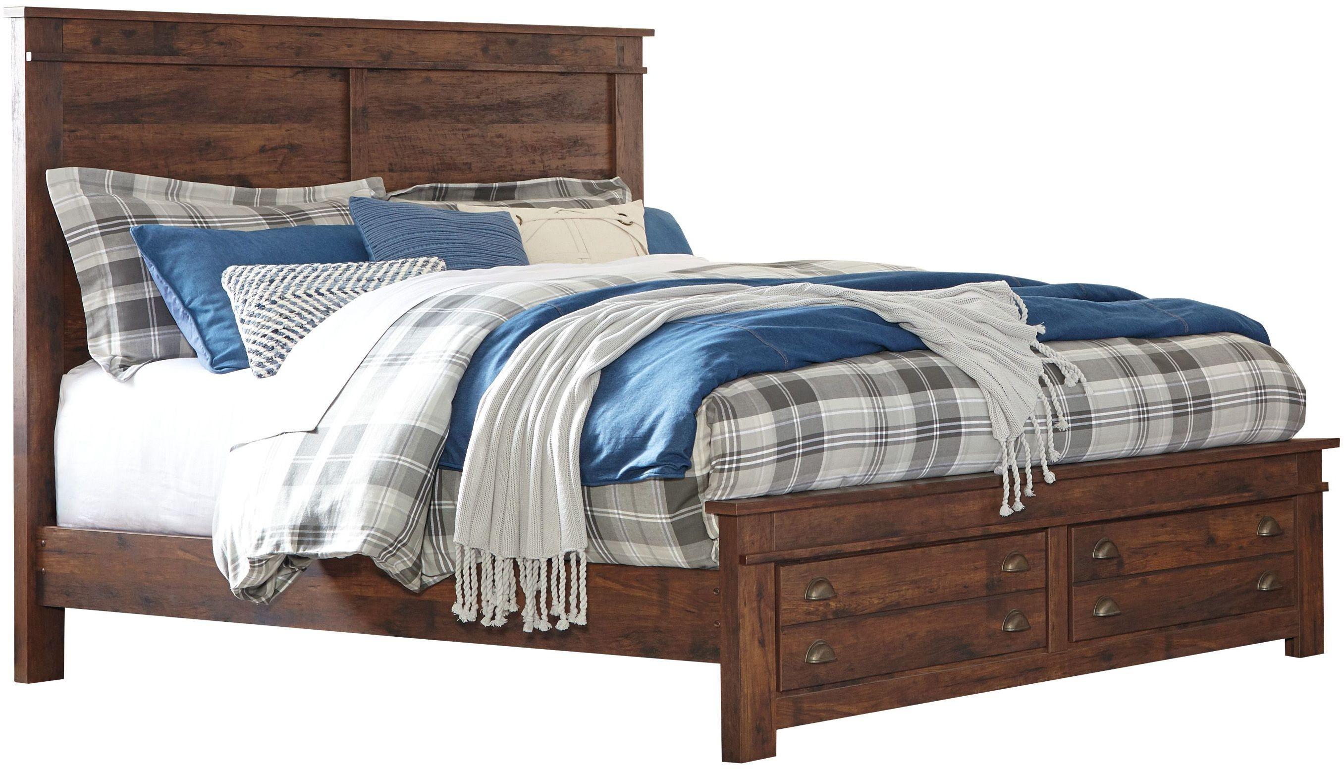 hammerstead brown queen platform storage bed b407 54s 57 95 b100 13 ashley. Black Bedroom Furniture Sets. Home Design Ideas