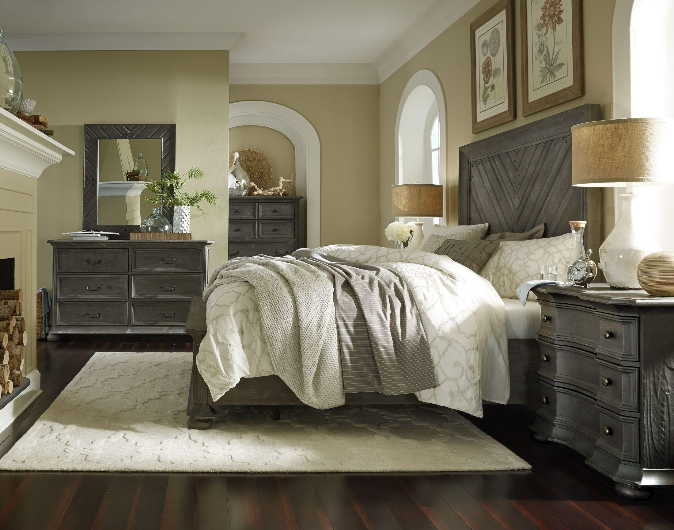 Cheswick Washed Linen Grey Panel Storage Bedroom Set B4095 54h 55f 54r Magnussen Home