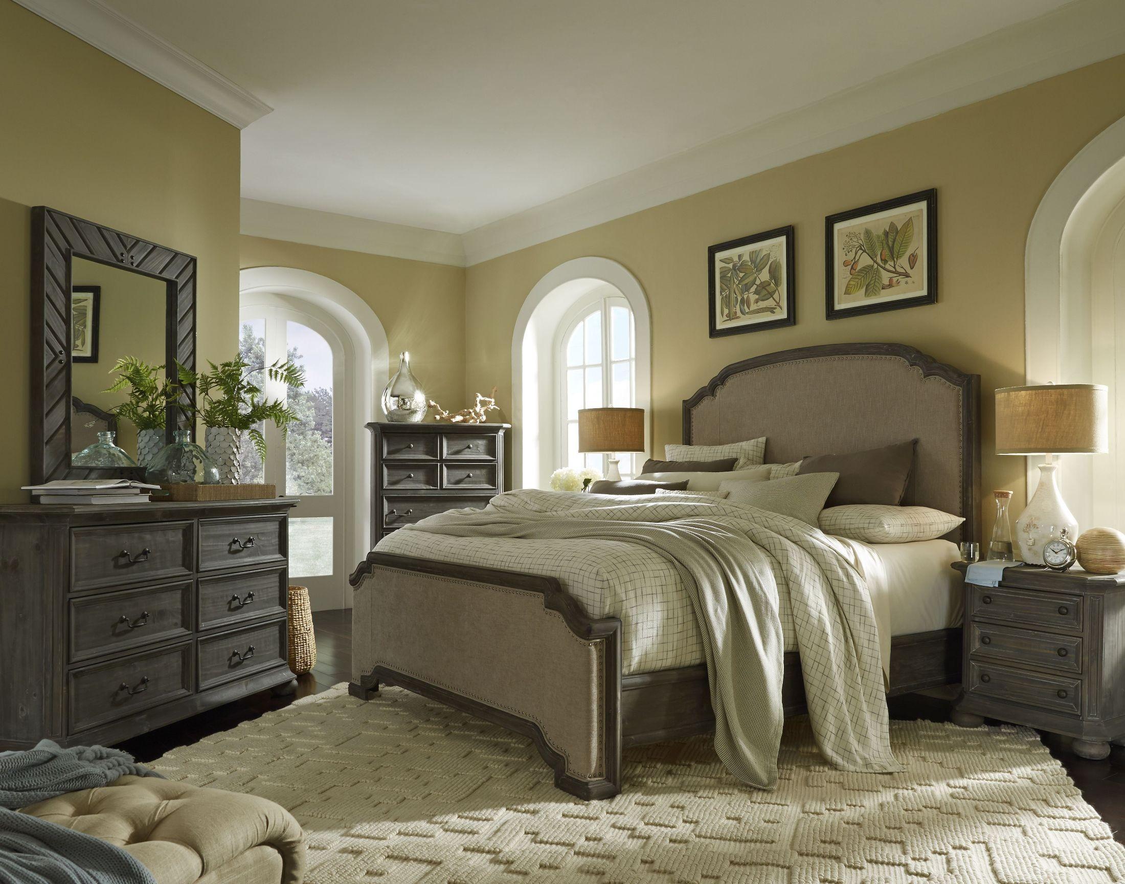 Cheswick Washed Linen Grey Upholstered Panel Bedroom Set B4095 57h 57f 57r Magnussen Home