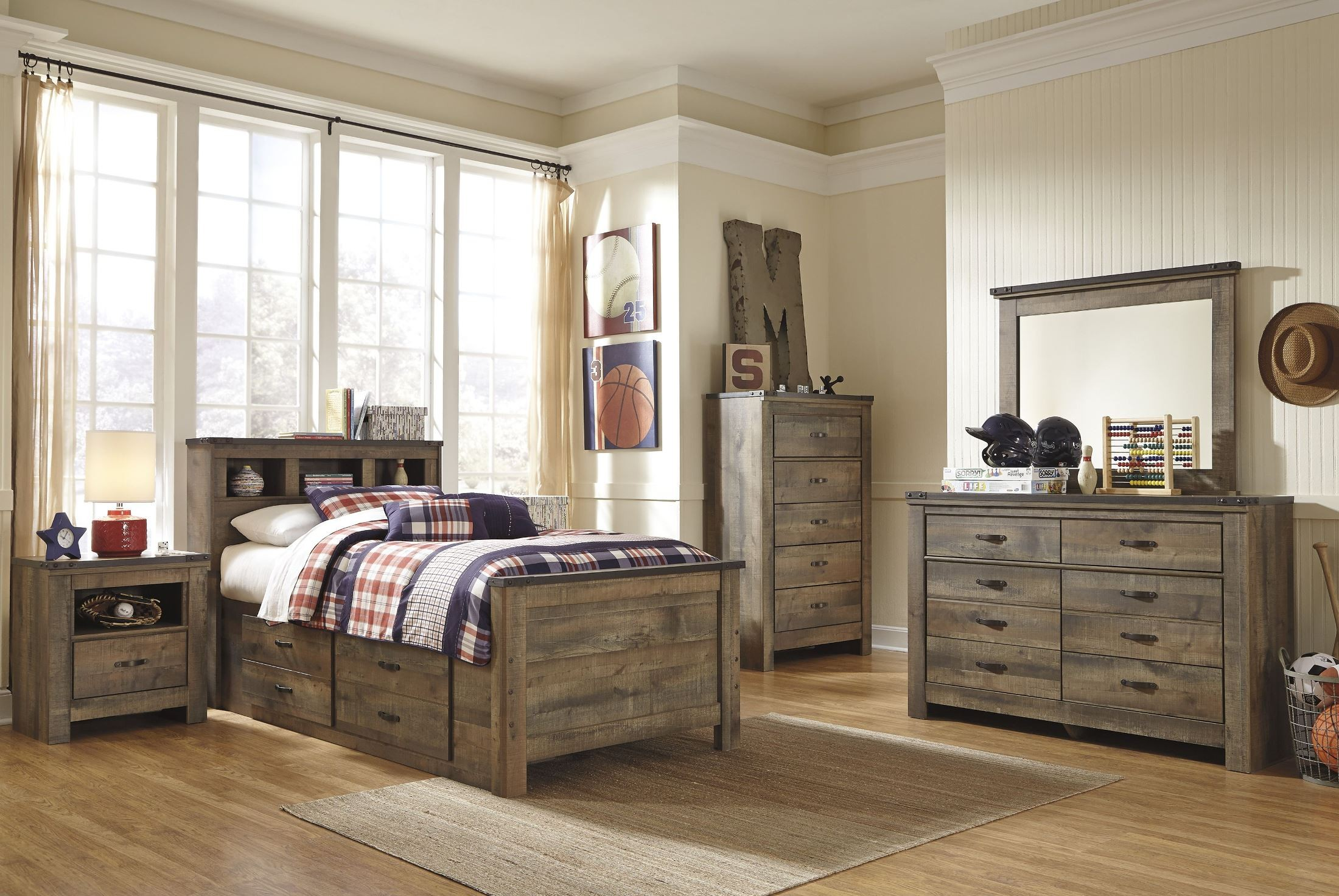 Trinell brown youth bookcase bedroom set b446 63 53 83 for Youth bedroom furniture