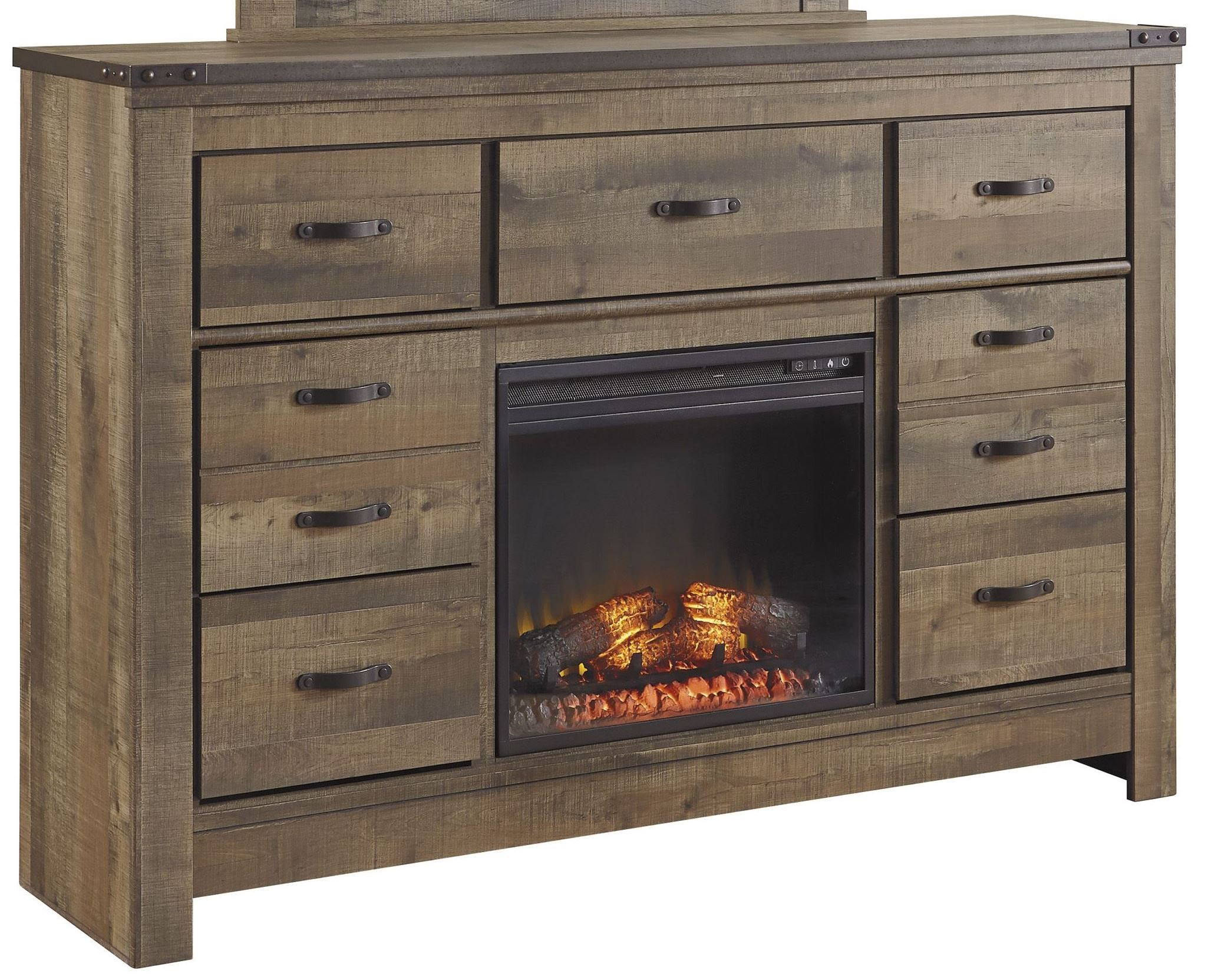 Trinell brown dresser with fireplace option from ashley for Fireplace options