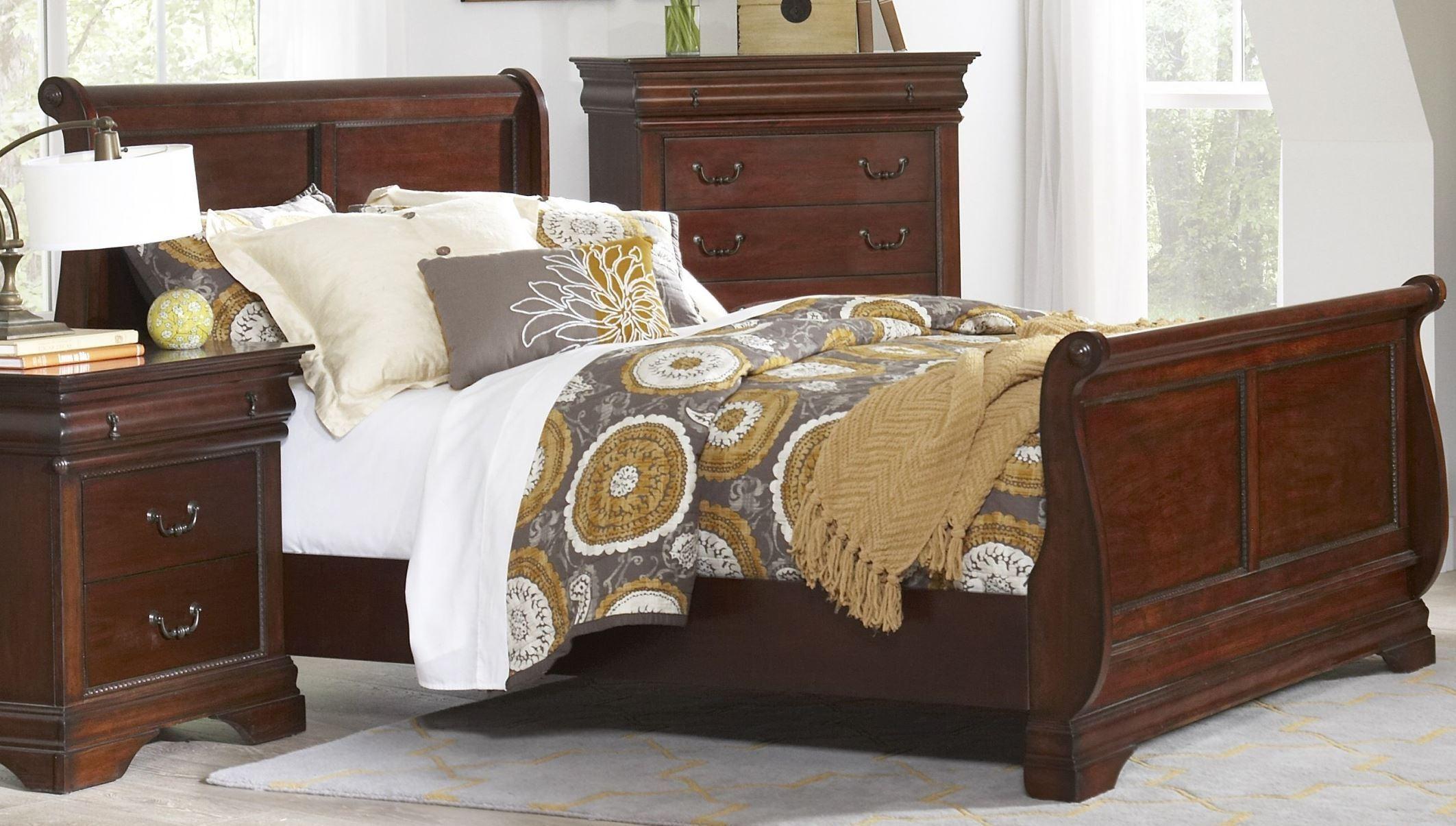 Chateau Vintage Cherry Sleigh Bedroom Set B4800 51h 51f 51r Largo Furniture