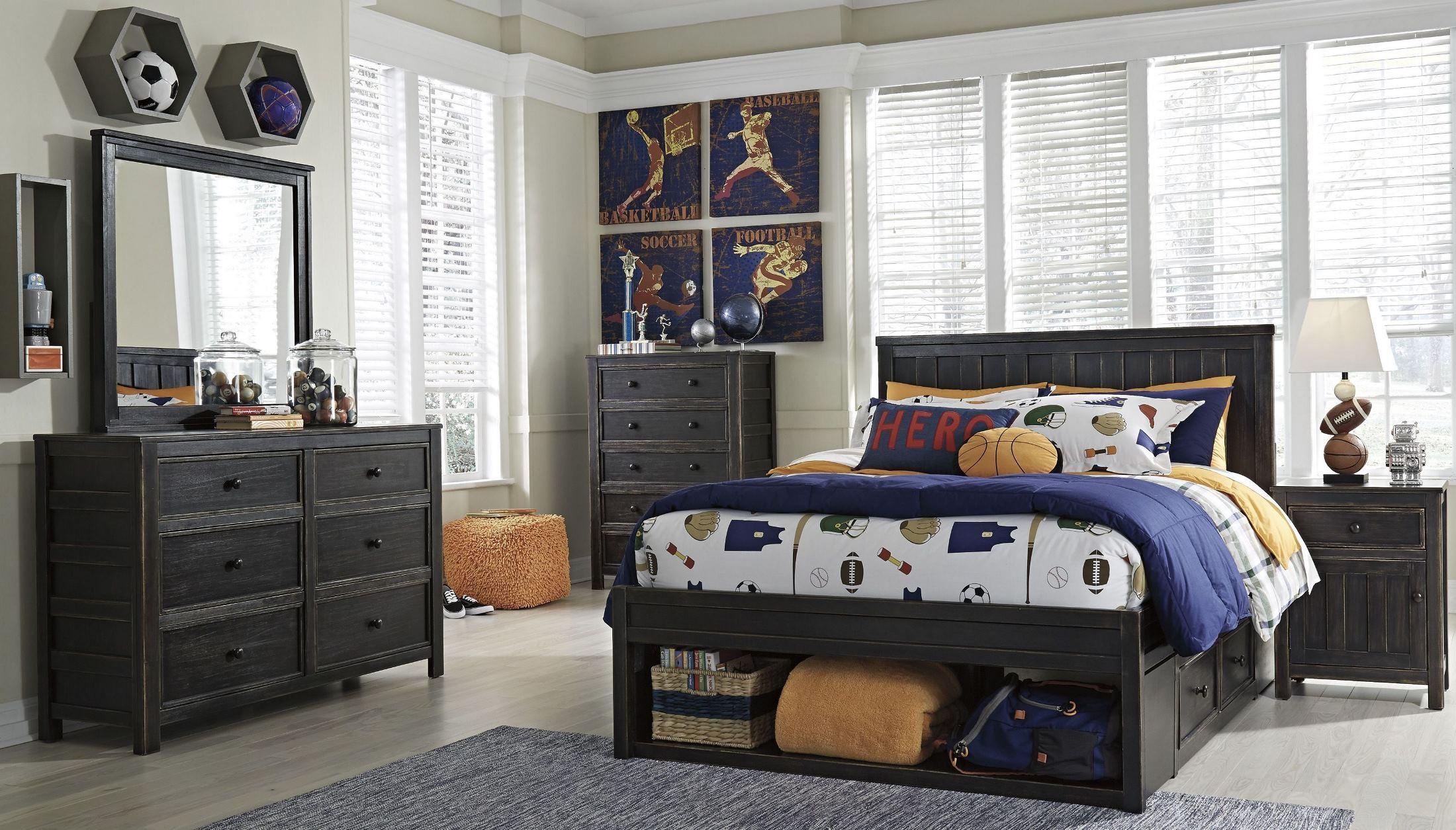 Jaysom Black Panel Storage Bedroom Set B521 52s 53 60 83s