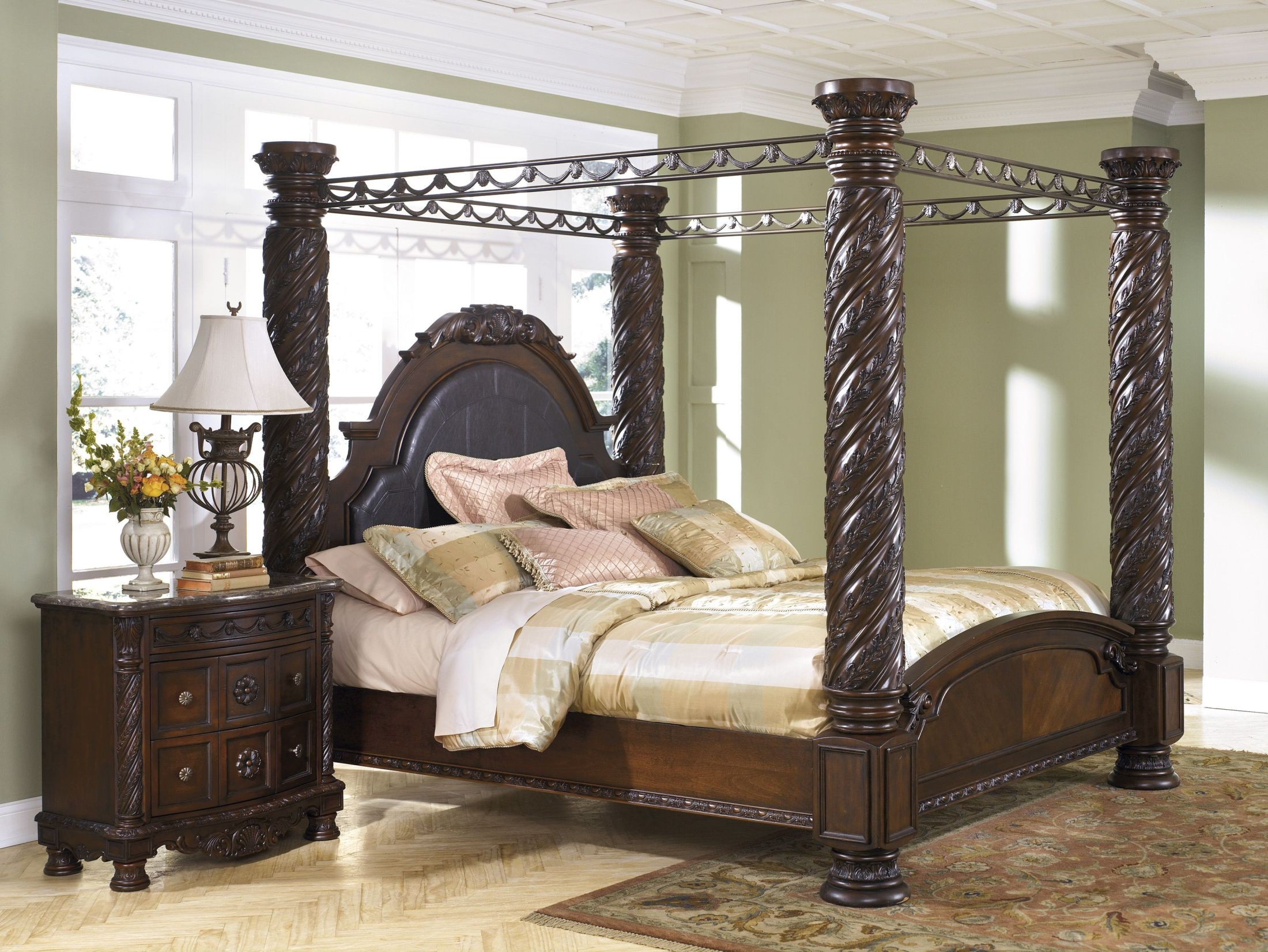 North shore king poster bed with canopy from ashley - Four poster bedroom sets for sale ...