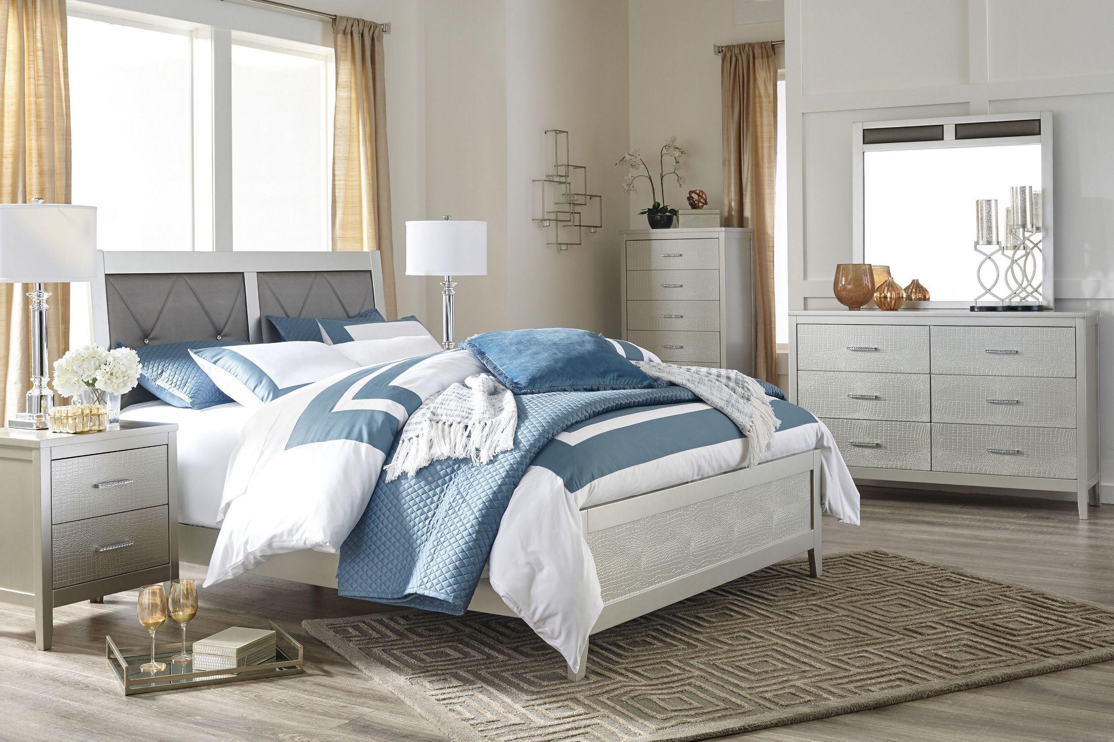 olivet silver upholstered panel bedroom set b560 81 96