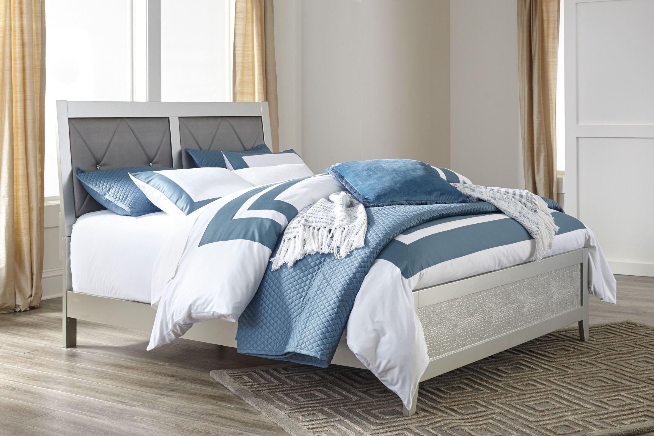 Olivet Silver Upholstered Panel Bedroom Set B560 81 96 Ashley