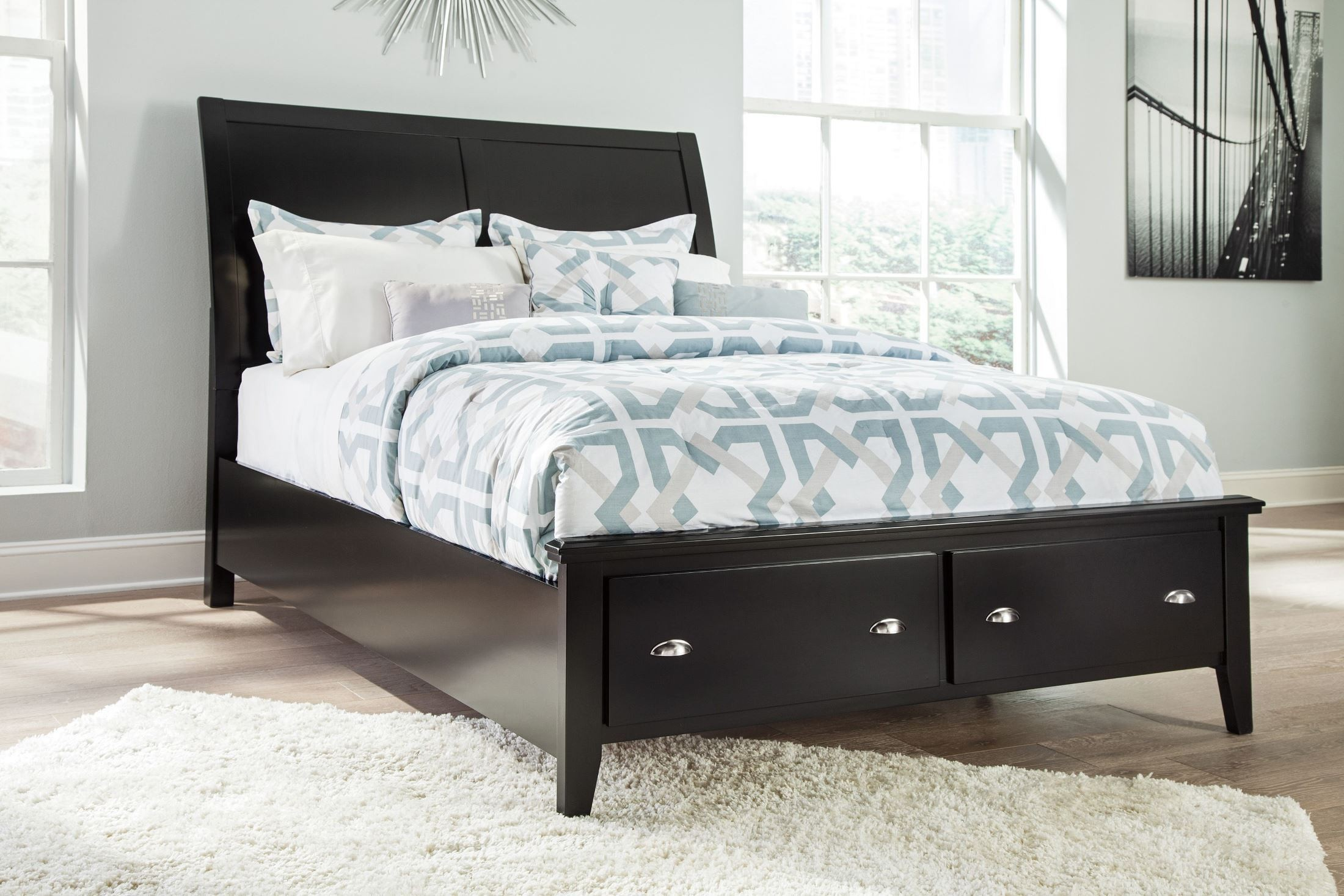 braflin black queen sleigh storage bed from ashley b591 57 54s 96s coleman furniture. Black Bedroom Furniture Sets. Home Design Ideas