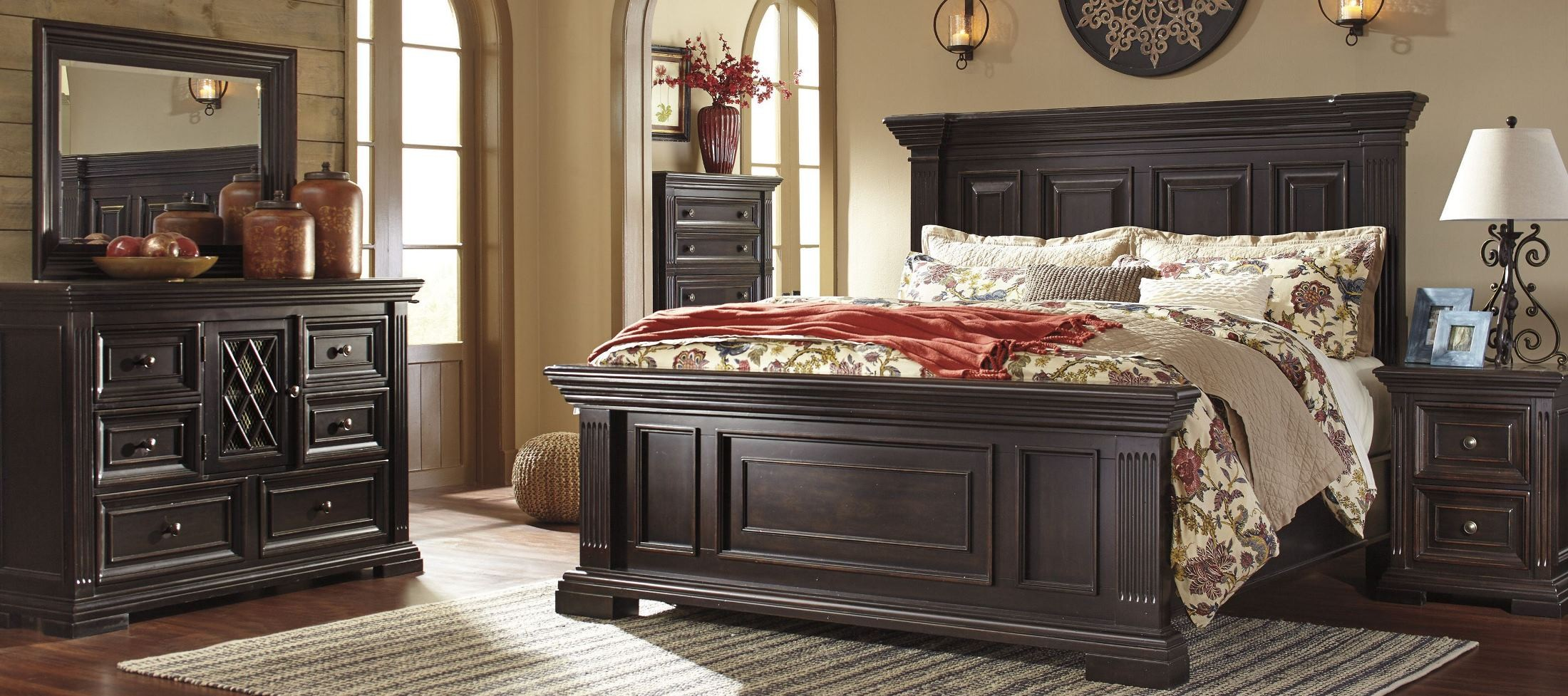 willenburg dark brown panel bedroom set b643 57 54 96 ashley