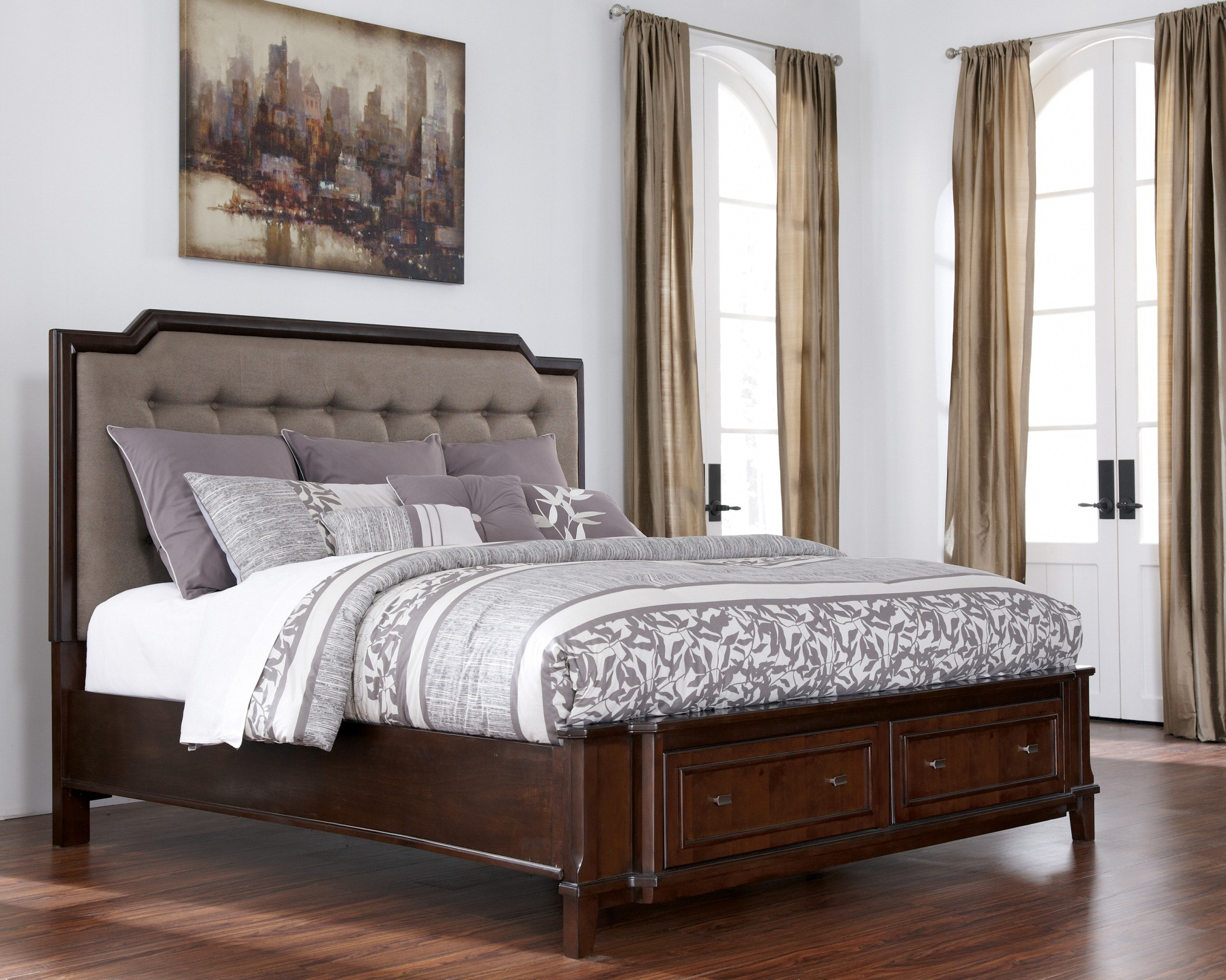 Larimer cal king upholstered storage bed b654 78 76 95 for Upholstered king bed with storage