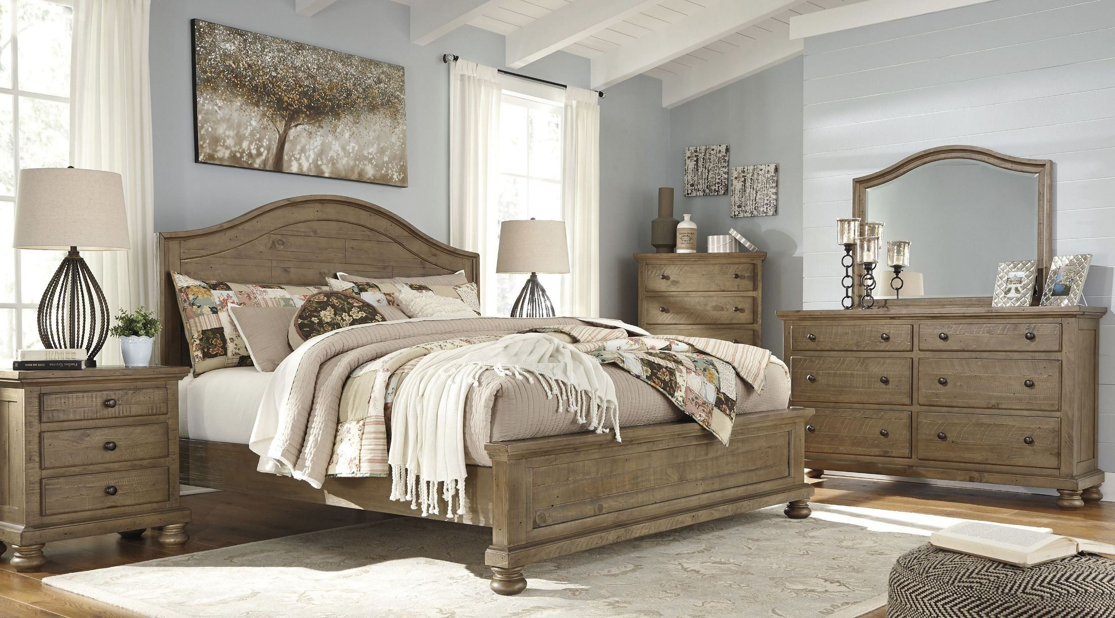 Trishley light brown panel bedroom set b659 57 54 96 ashley for Bedroom furniture