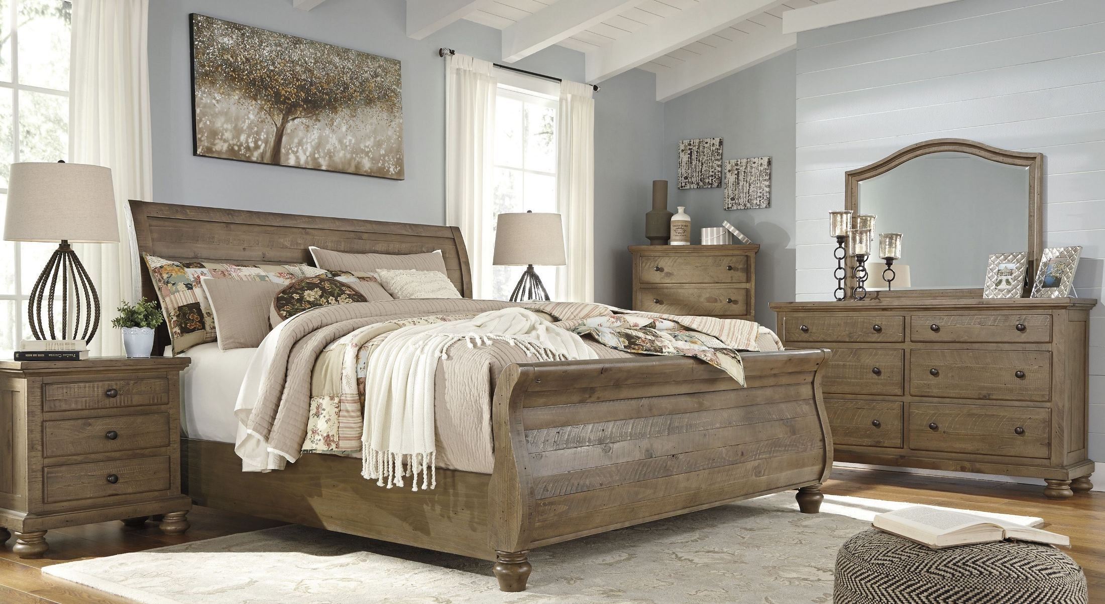 Trishley light brown sleigh bedroom set b659 77 74 98 ashley for Brown bedroom sets