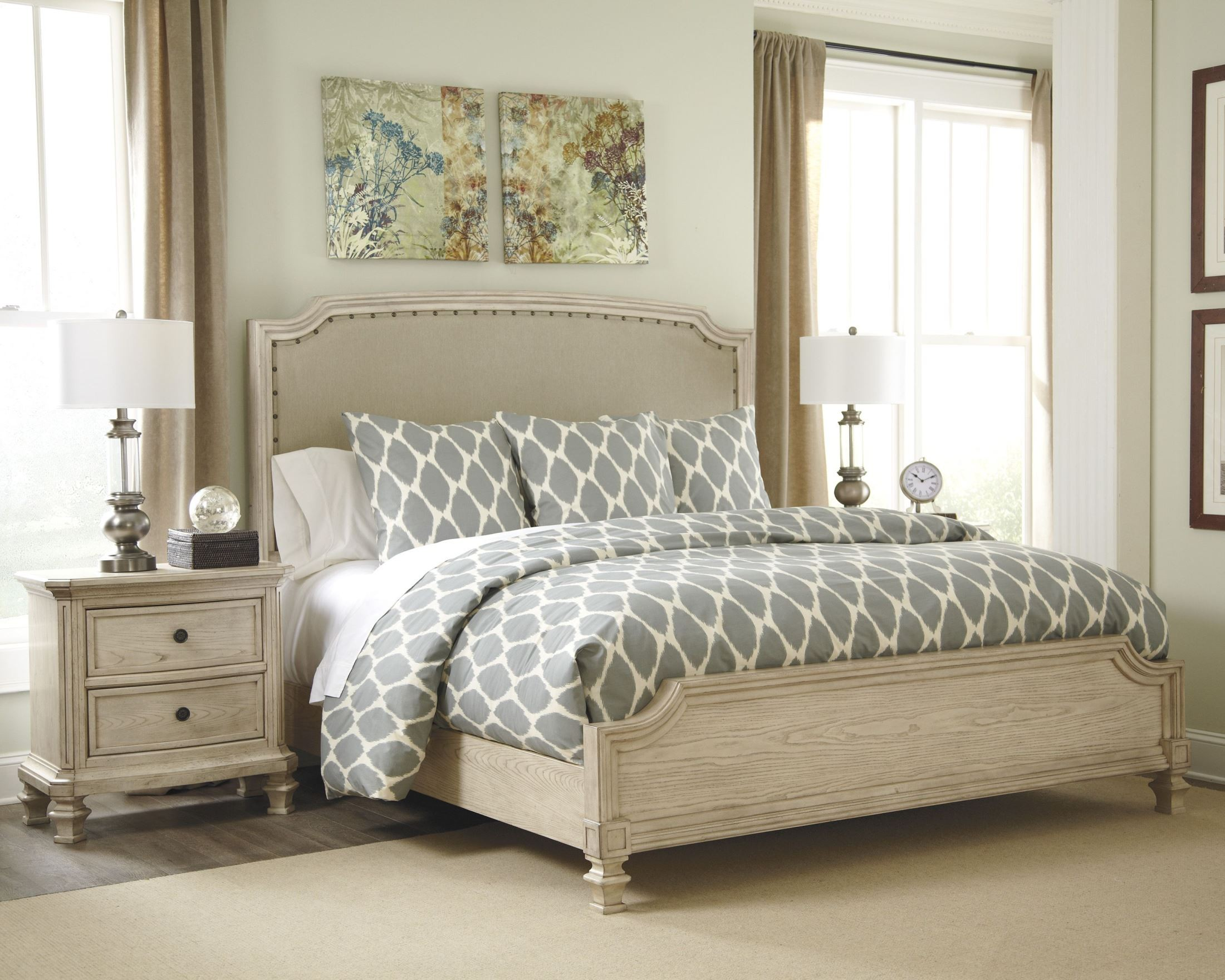 Demarlos cal king upholstered panel bed from ashley b693 76 78 94 coleman furniture for Demarlos upholstered panel bedroom set