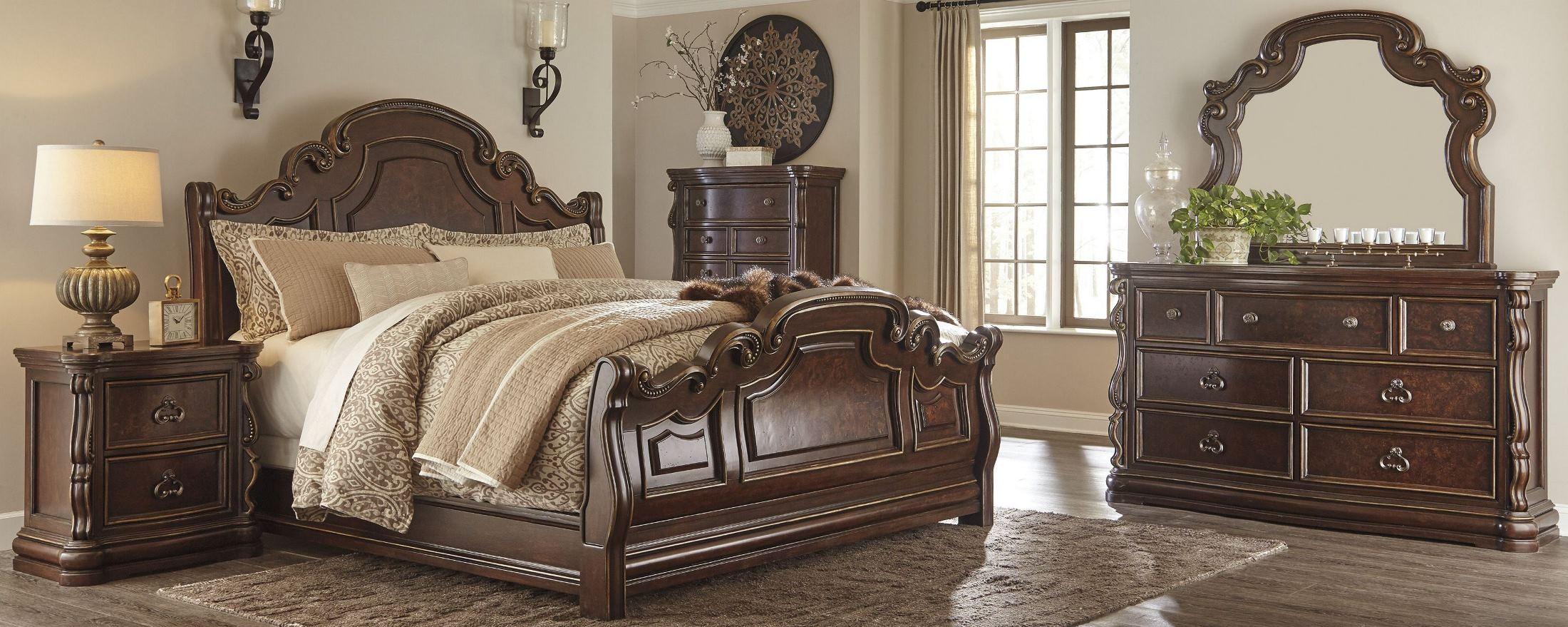 florentown dark brown sleigh bedroom set b715 57 54 96 ashley