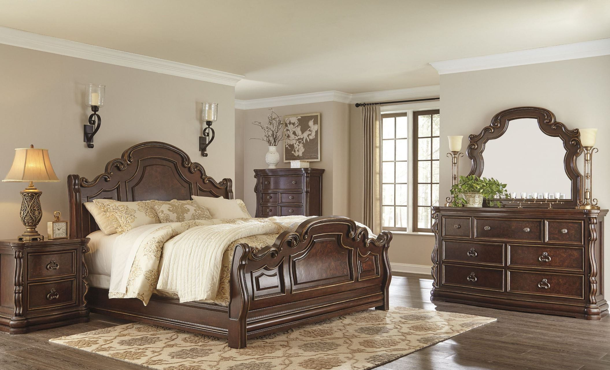 furniture bedroom sets florentown dark brown sleigh bedroom set