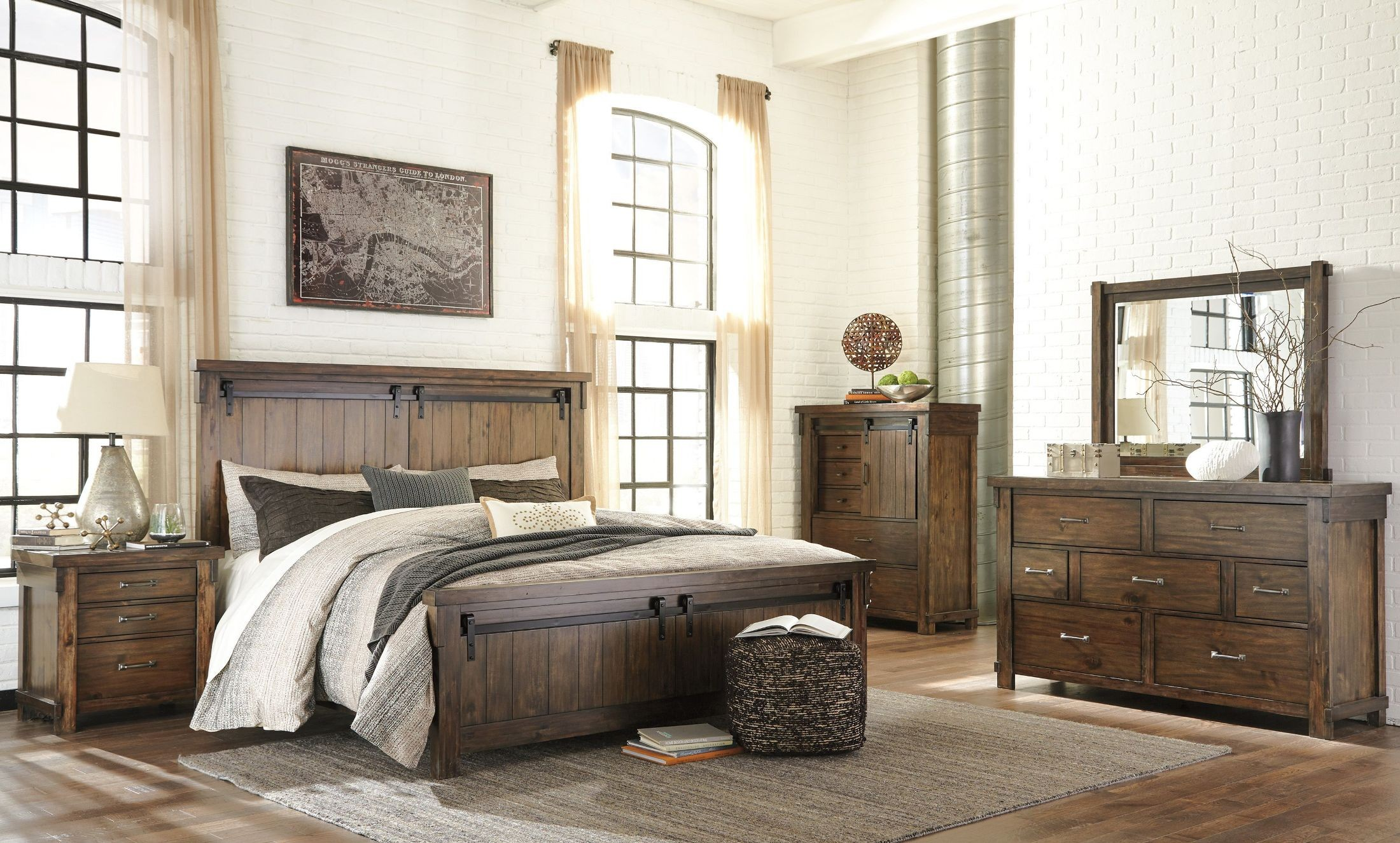 Lakeleigh brown panel bedroom set b718 54 57 96 ashley for Brown bedroom sets