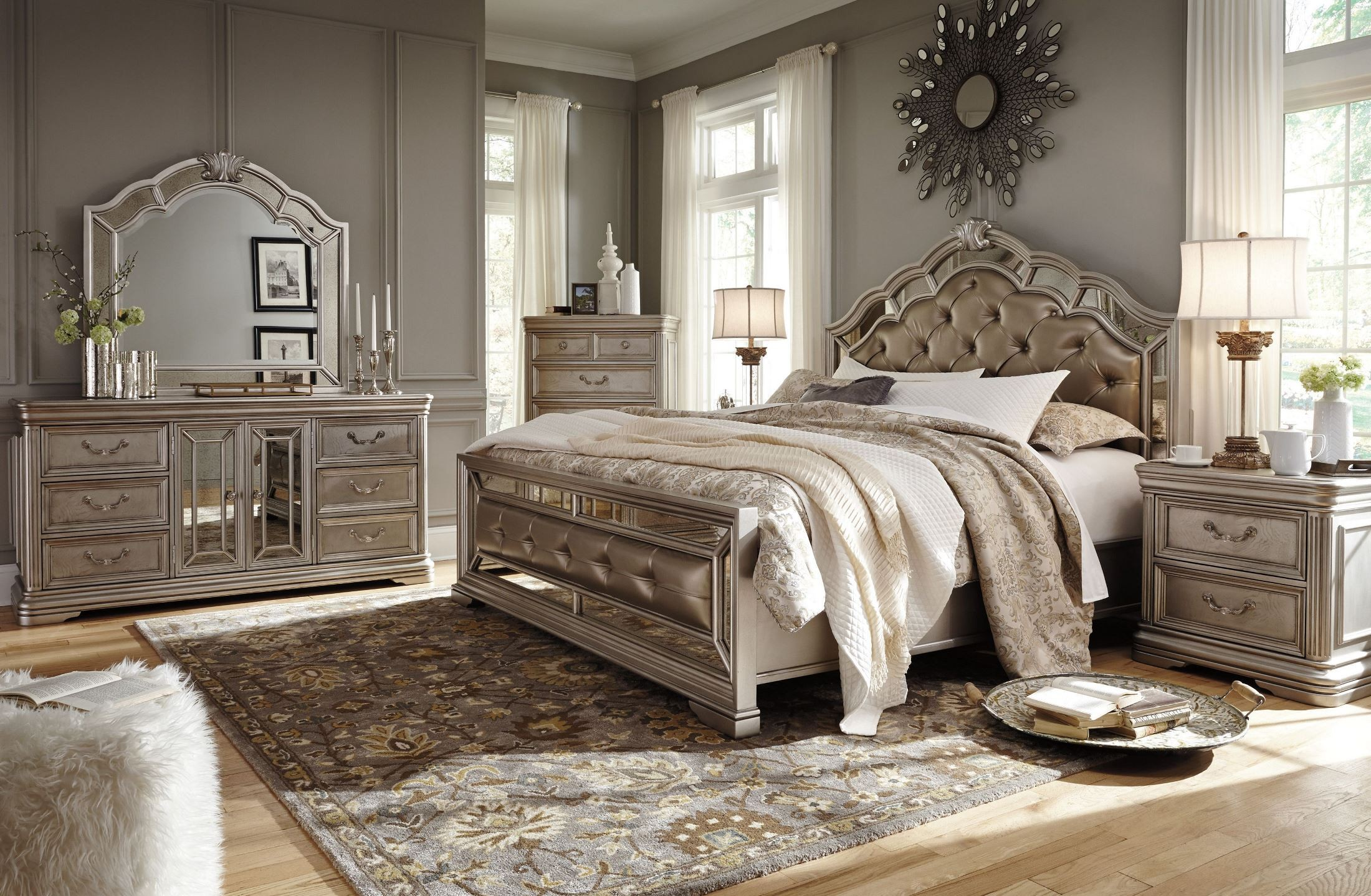 Birlanny silver upholstered panel bedroom set b720 57 54 for Bed set queen furniture