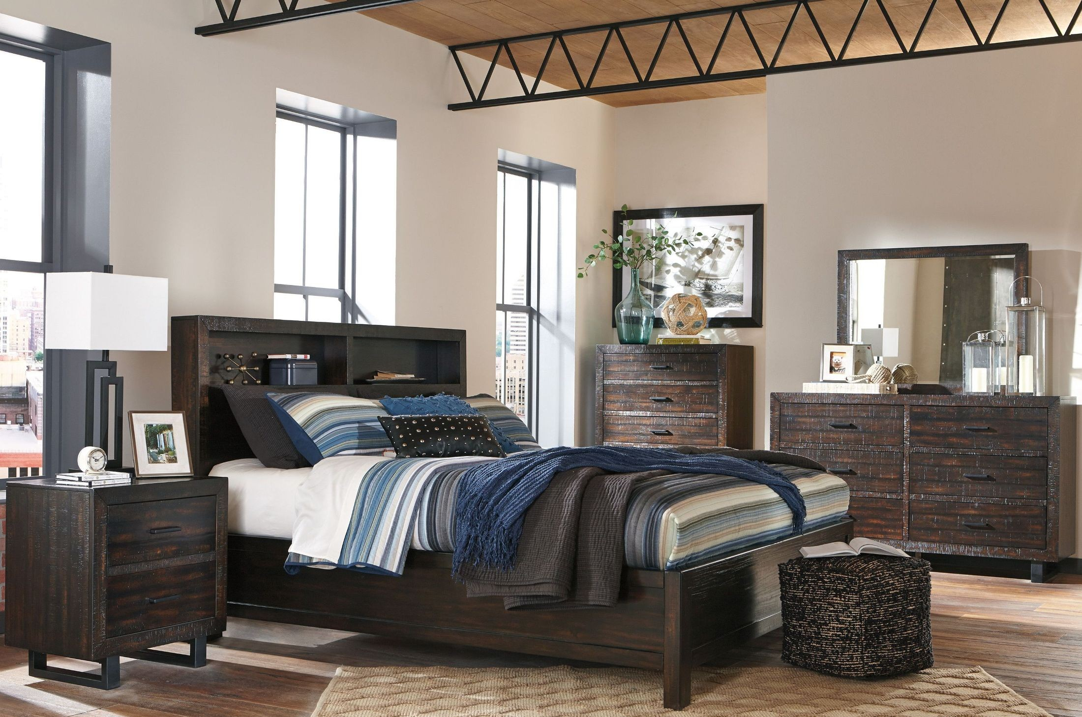 parlone dark brown storage platform bedroom set b721 64 65 98 ashley