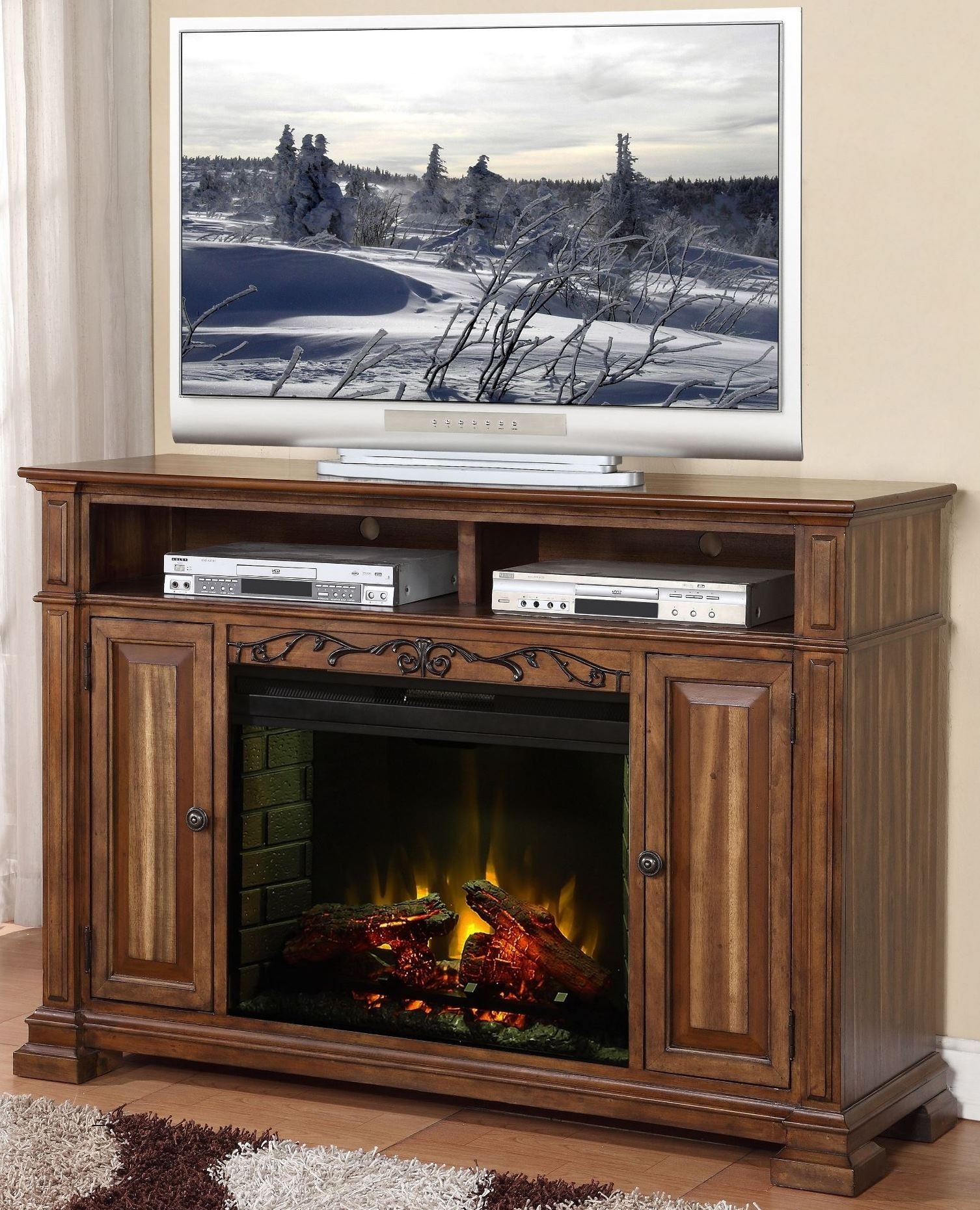 barclay rustic acacia fireplace media center from legends zbcl 1900