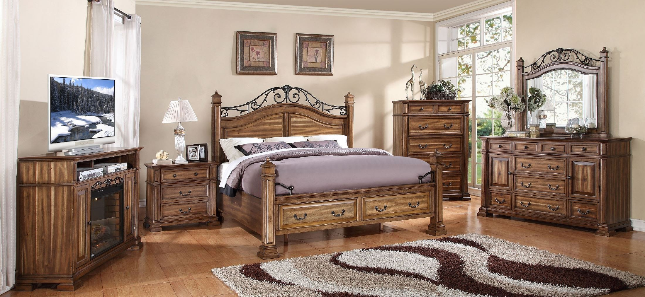 Barclay Rustic Acacia Cal King Poster Storage Bed From Legends Zbcl 7004 7009 7012 Coleman