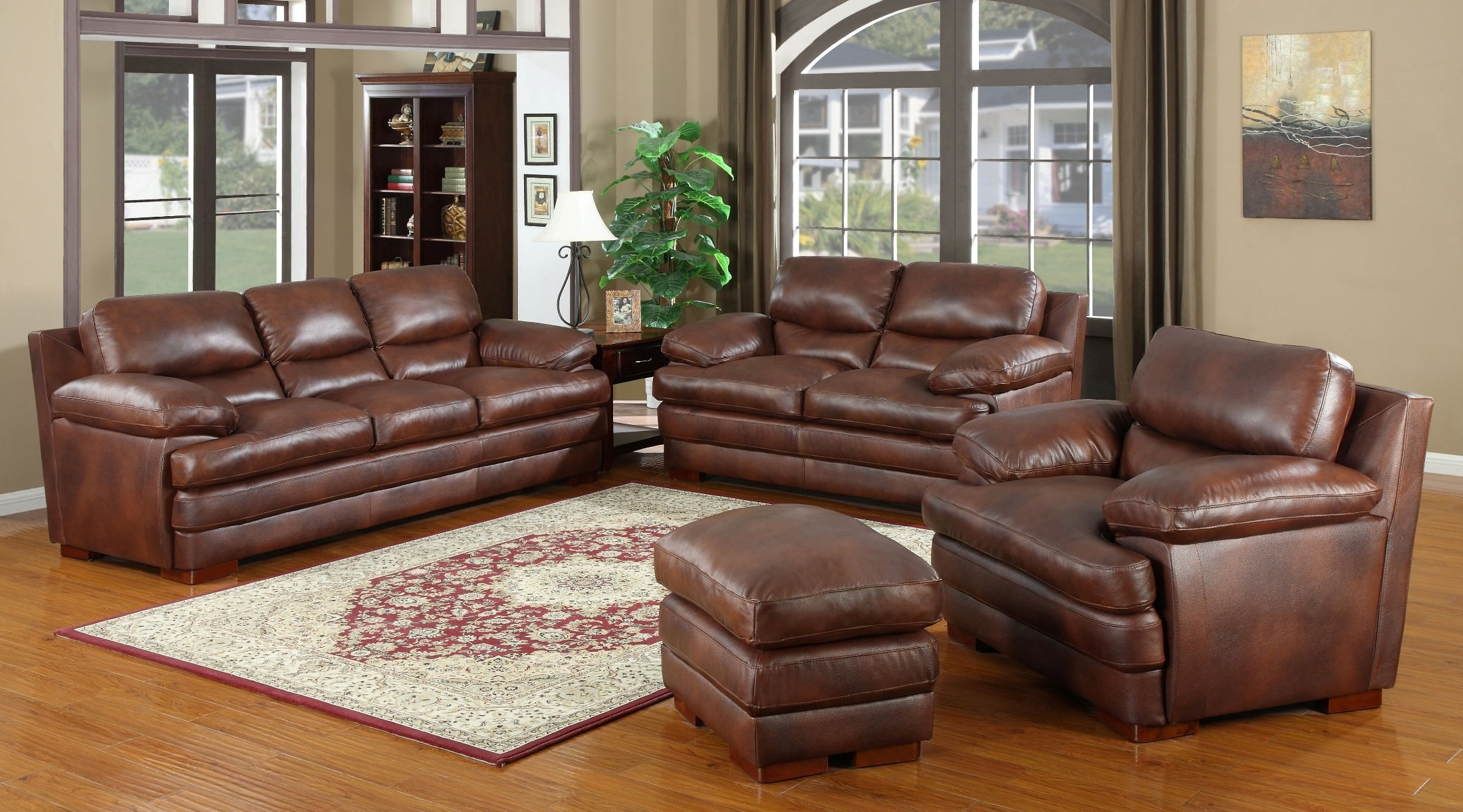 baron brown living room set from leather italia coleman furniture. Black Bedroom Furniture Sets. Home Design Ideas